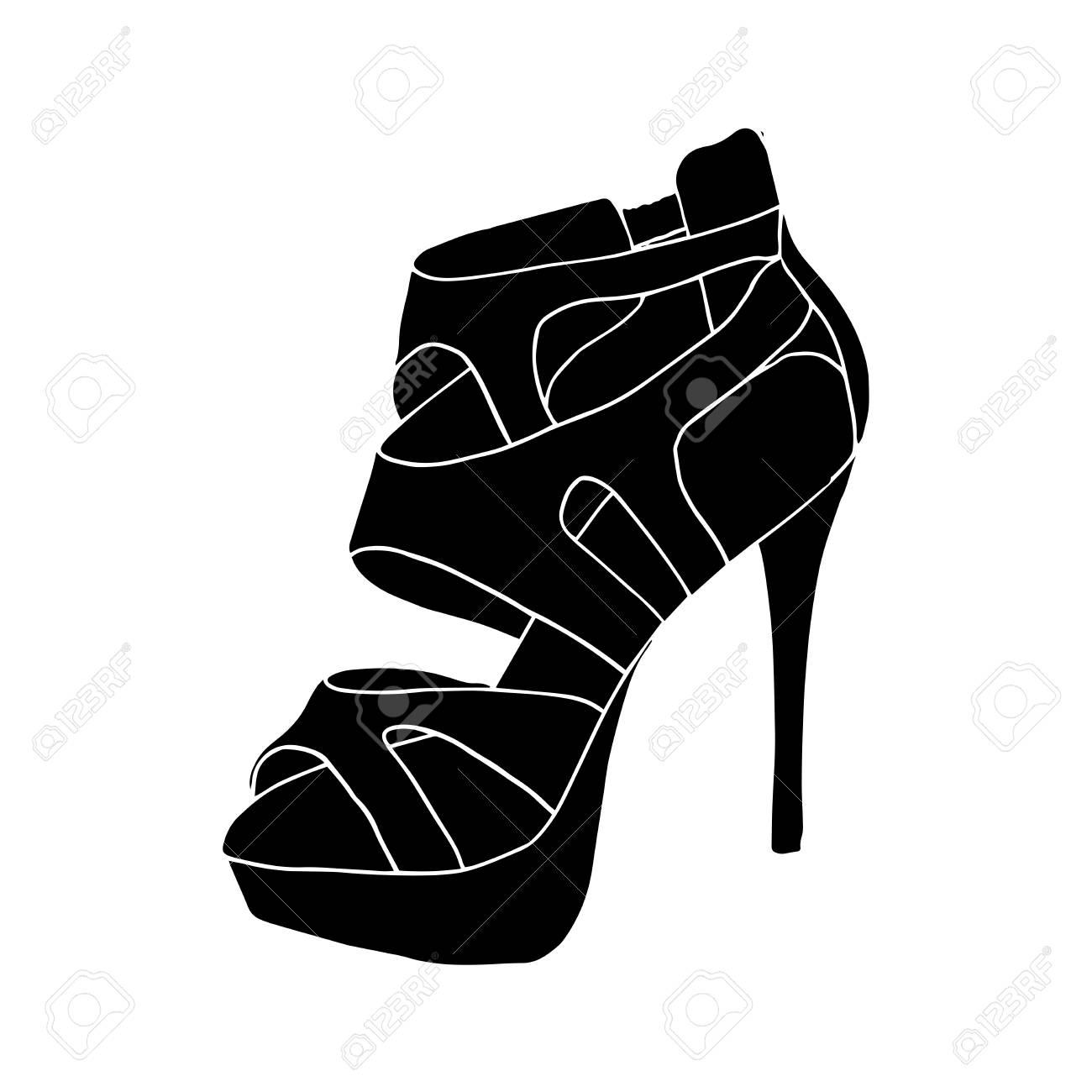 46e4bf453e2 Foto de archivo - Zapatos de tacón alto negro para mujer. Calzado de moda  de arte. Clipart aislado para diseño de páginas de libro para colorear