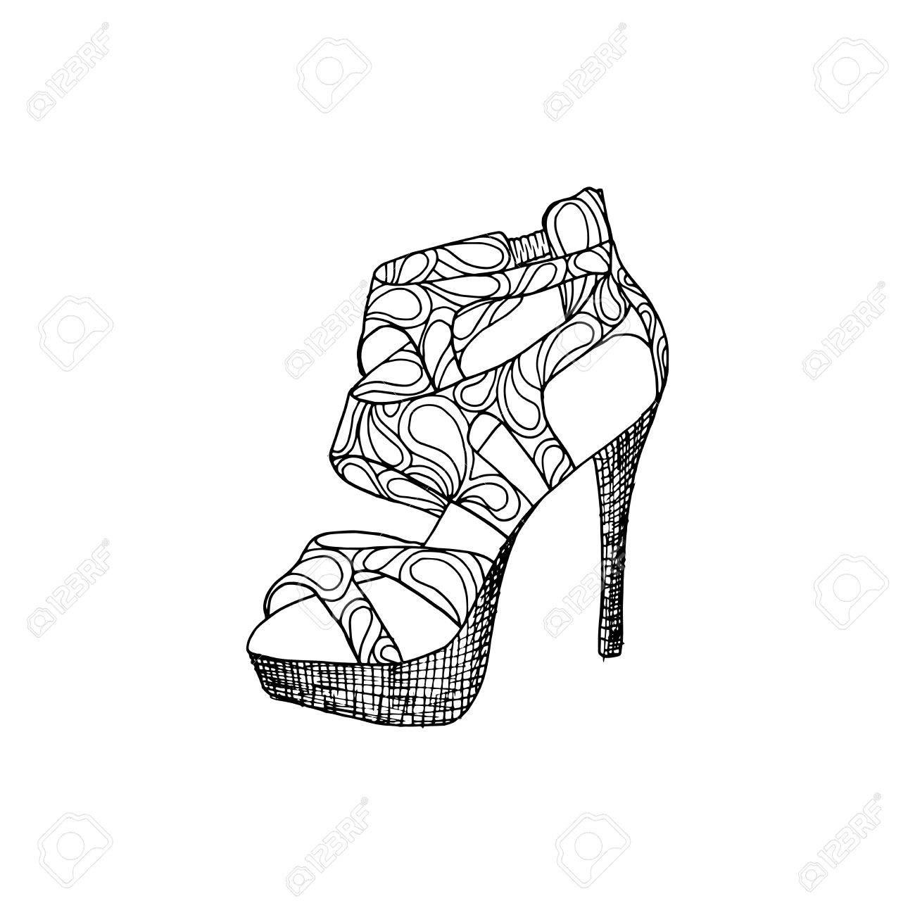 Zapatos De Tacón Alto Para Mujer Ilustraciones Del Calzado De La Manera En Relleno Del Patrón Del Estilo Del Zapato Aislado Imágenes