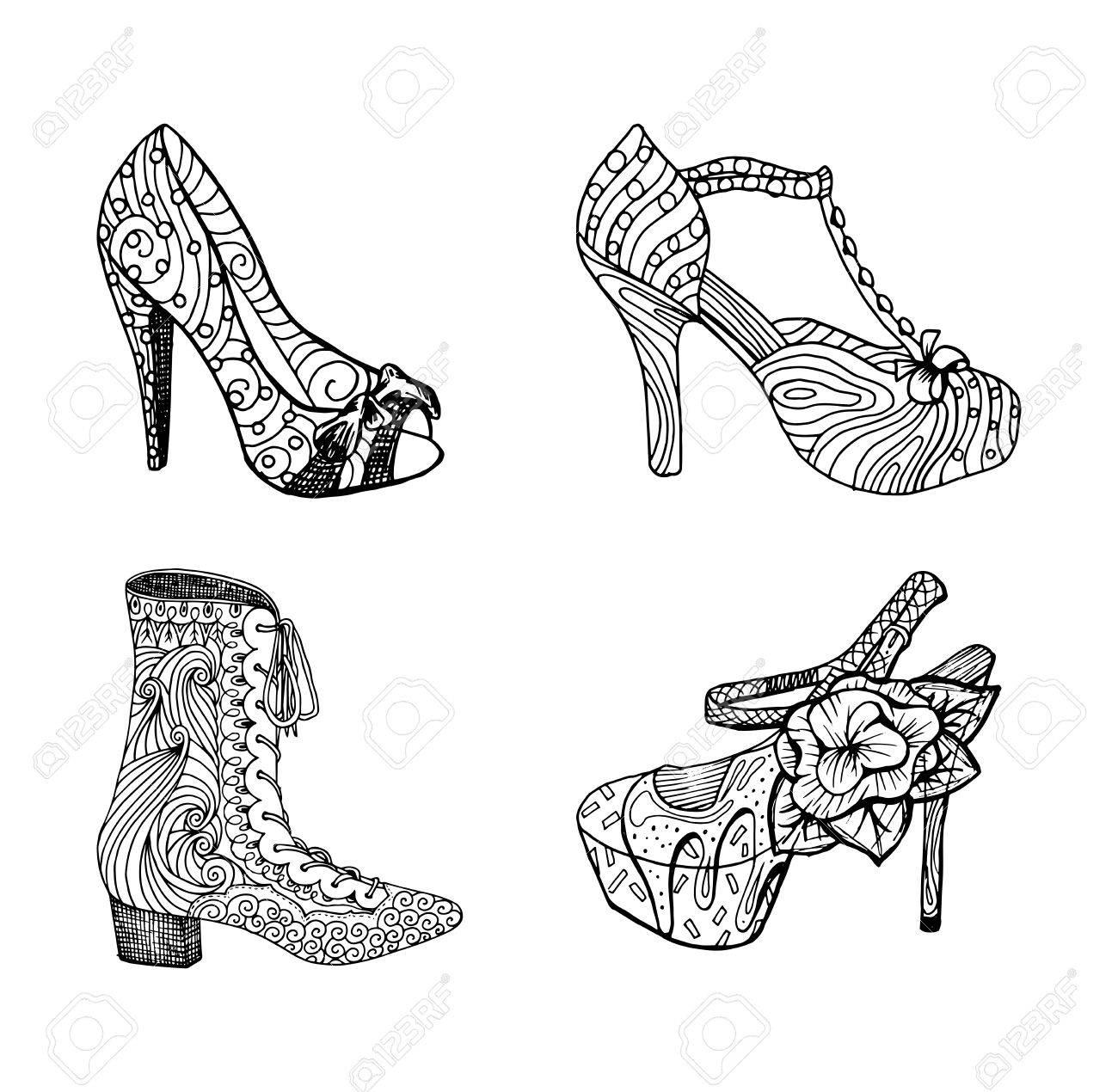 Zapatos De Tacón Alto Establecen Para La Mujer La Moda Del Calzado En Obra Relleno De Patrón De Estilo Blackblack Clipart Aislada Por Las Páginas