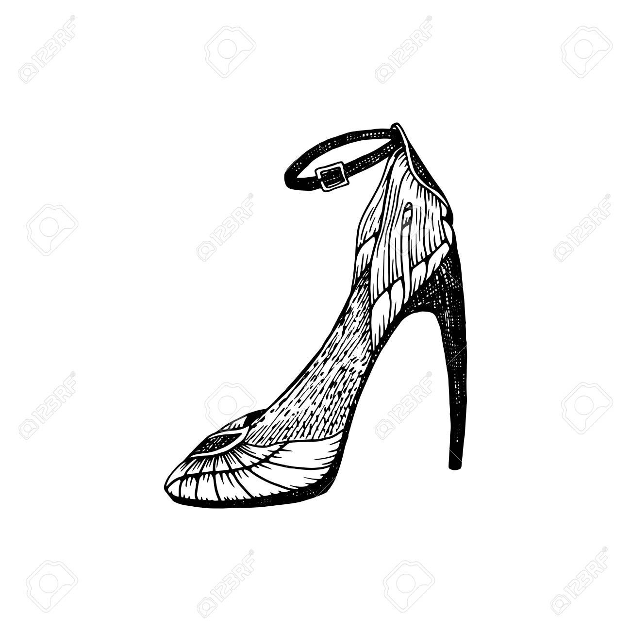 b49f1f787cf Foto de archivo - Zapatos de tacón alto para mujer. Ilustraciones del  calzado de la manera en relleno del patrón del estilo del zapato.