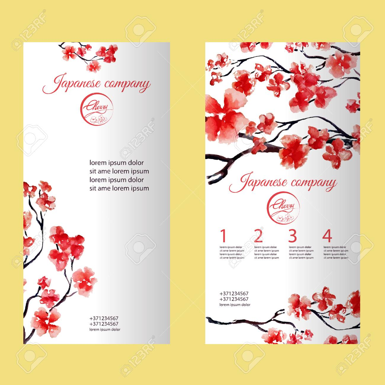 vertical flyer or brochure with cherry blossom or sakura tree