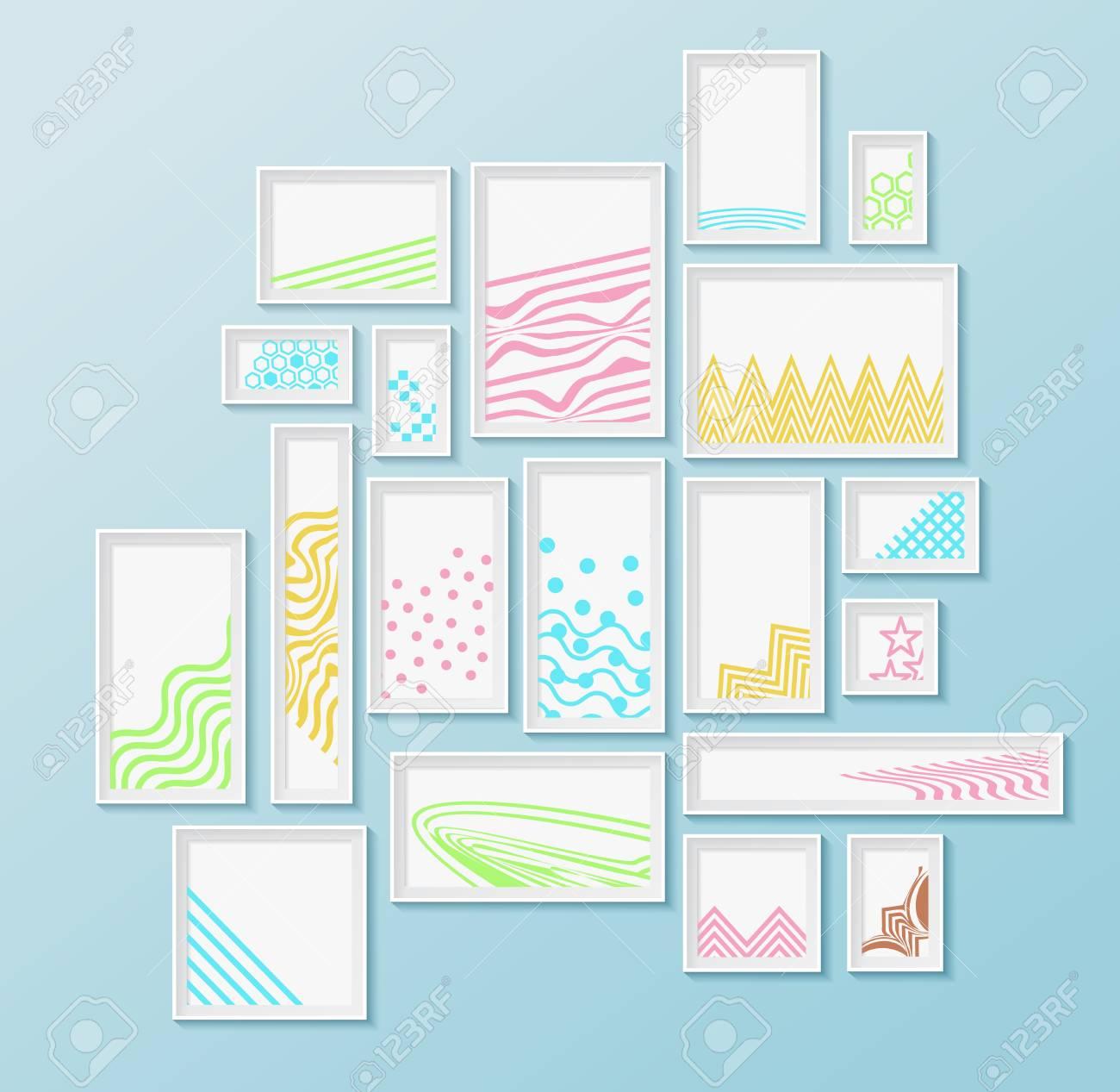 Diferentes Marcos De Cuadros Con Patrones Geométricos Coloridos ...
