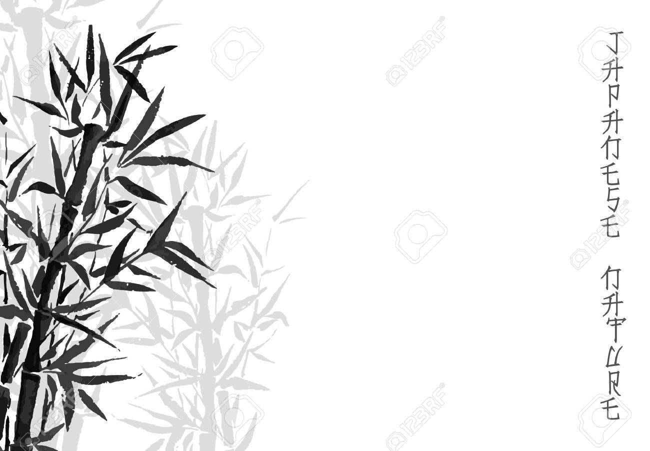 black inked bamboo tree japanese plant or tree traditional sumi