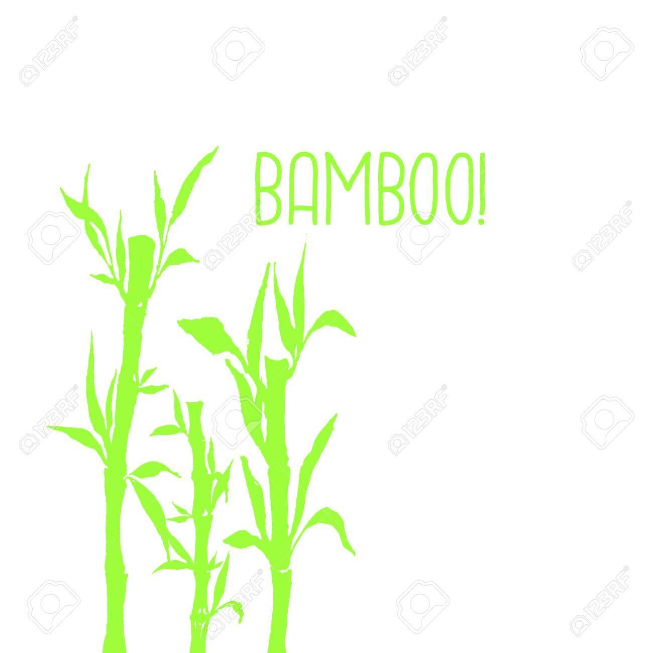 Japanische Pflanze Oder Baum Des Bambusgrünbaums. Traditionelle Sumi Malerei Vektorillustration  Für Tapete Oder