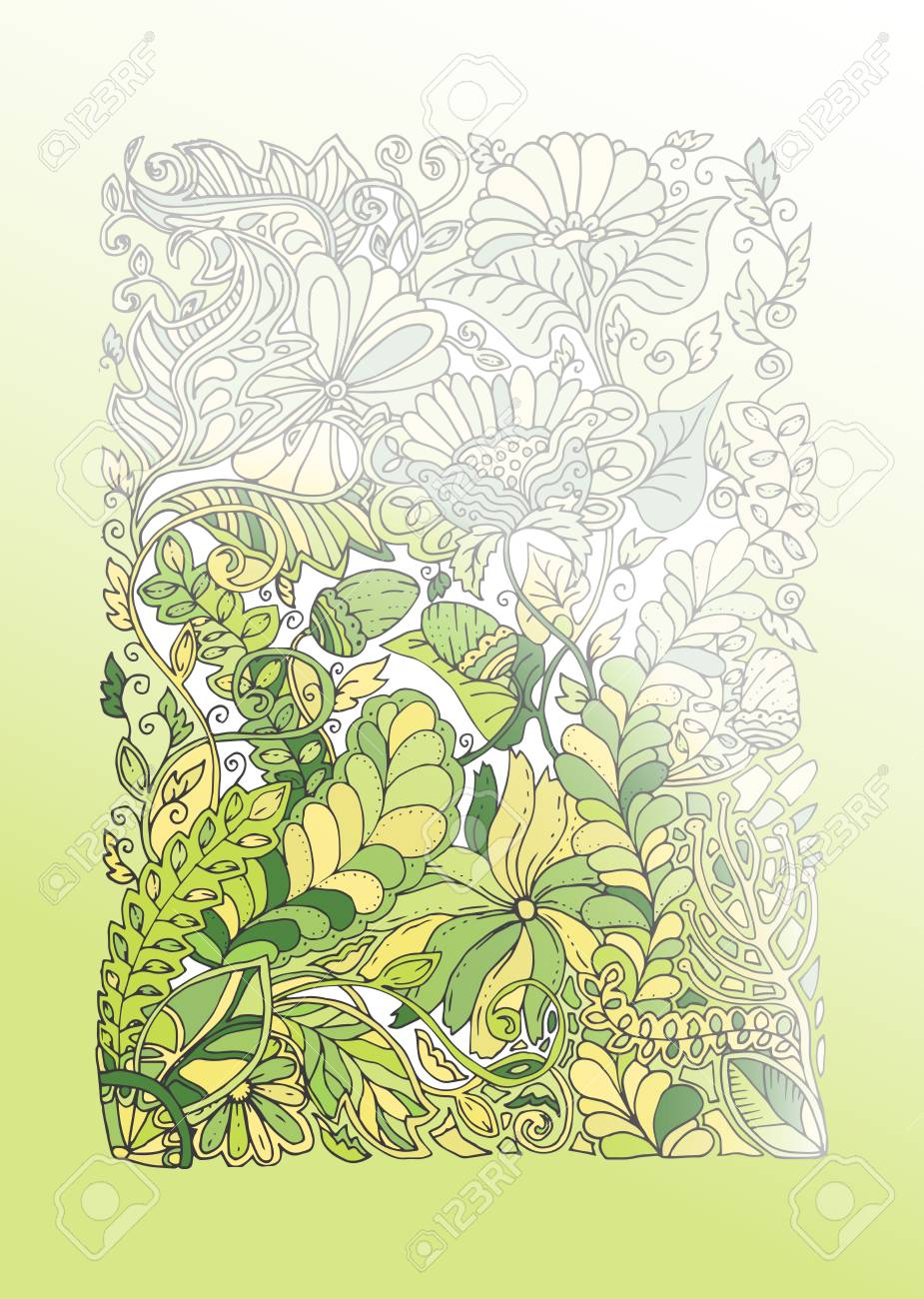 Green Spring Doodle Illustration, Art Therapy Adult Coloring ...