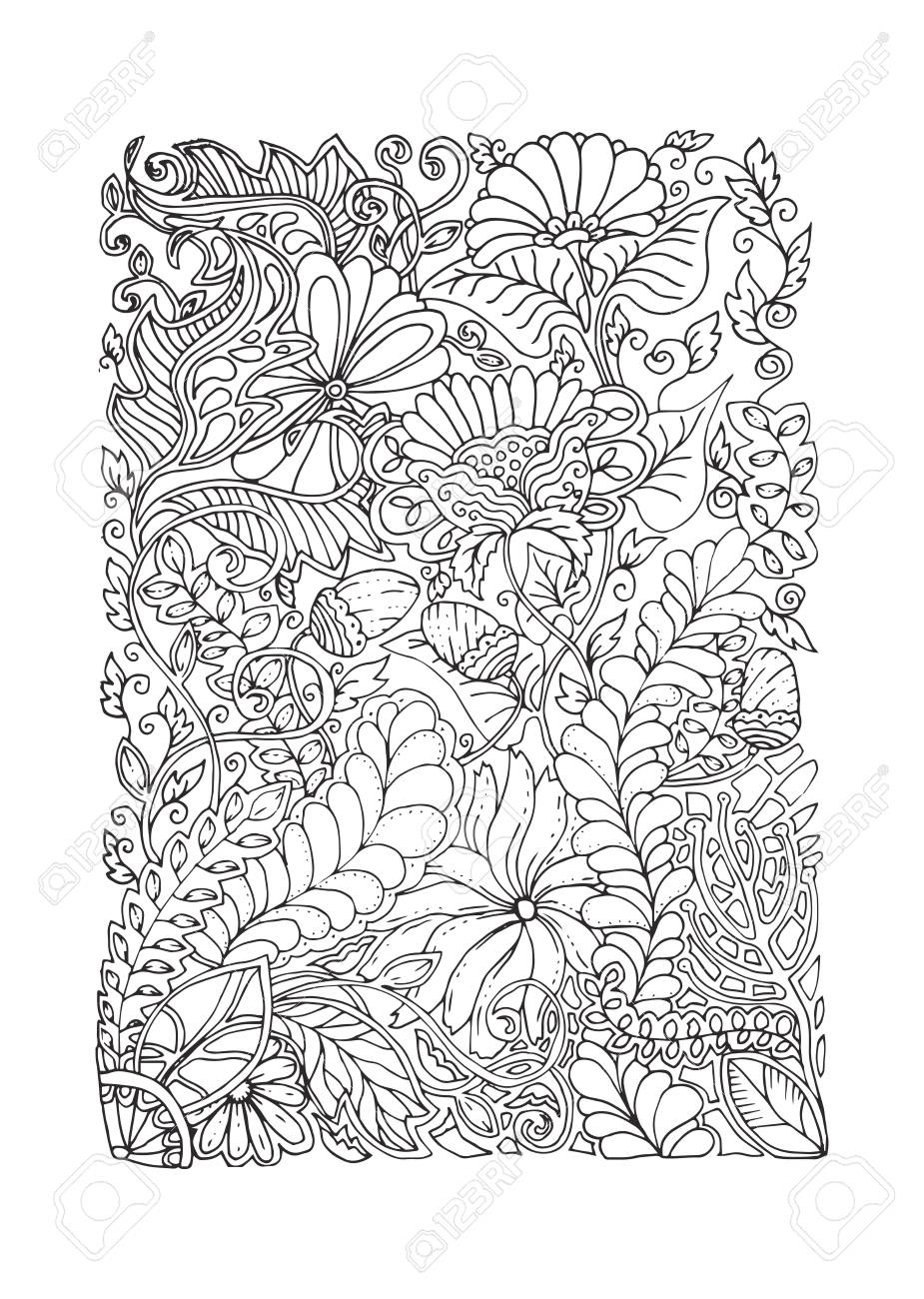 Adult Coloring Page Spring Design Black And White Color Antistress Calming Pattern Monochrome