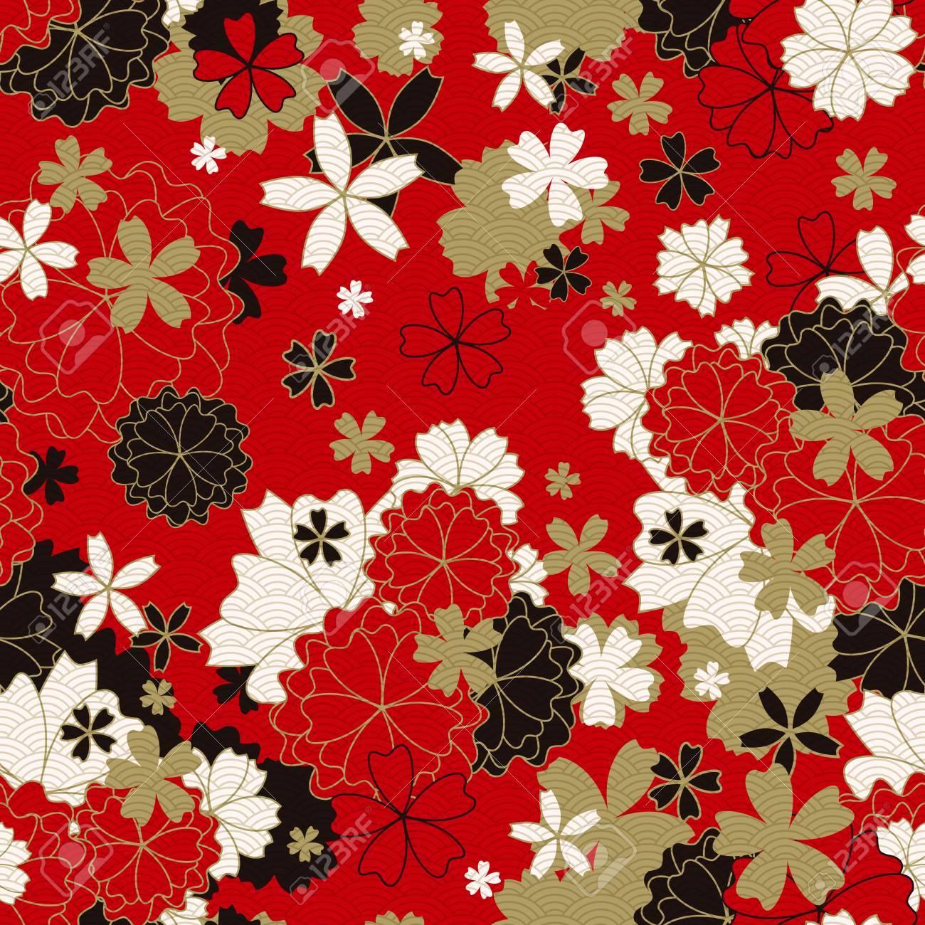 Japanese Classic Floral Seamless Pattern Traditional Kimono