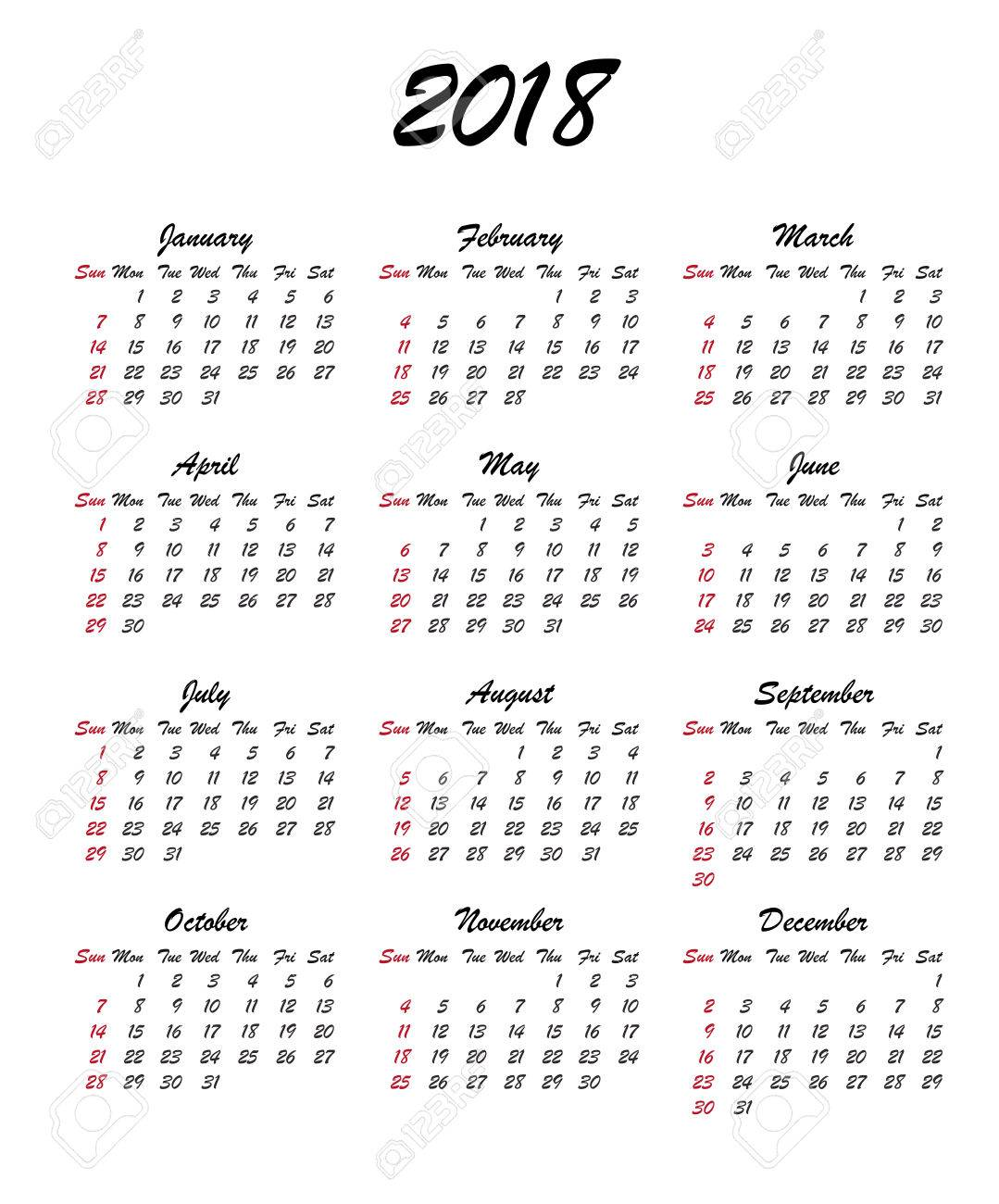 Kalender 2018 Jahr. Woche Beginnt Sonntag, USA. Vector Klare Oder ...