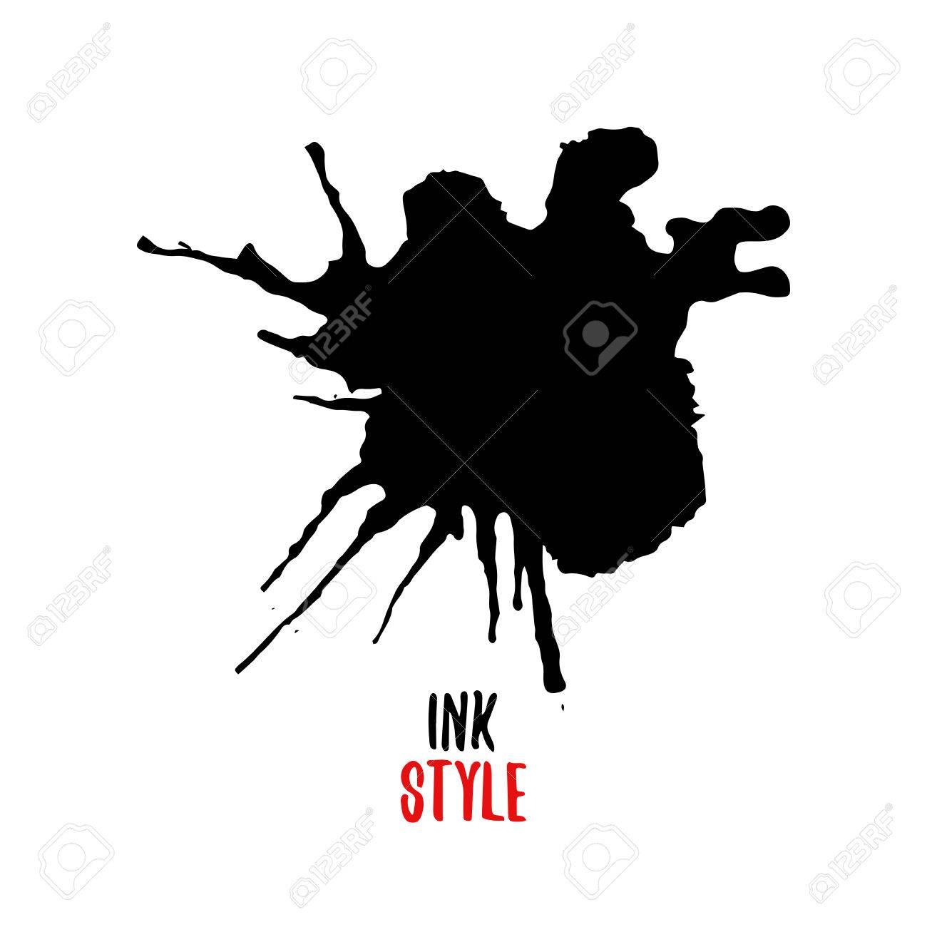 black blot or splash on white background in ink style vector rh 123rf com ink splatter vector free ink splatter vector free