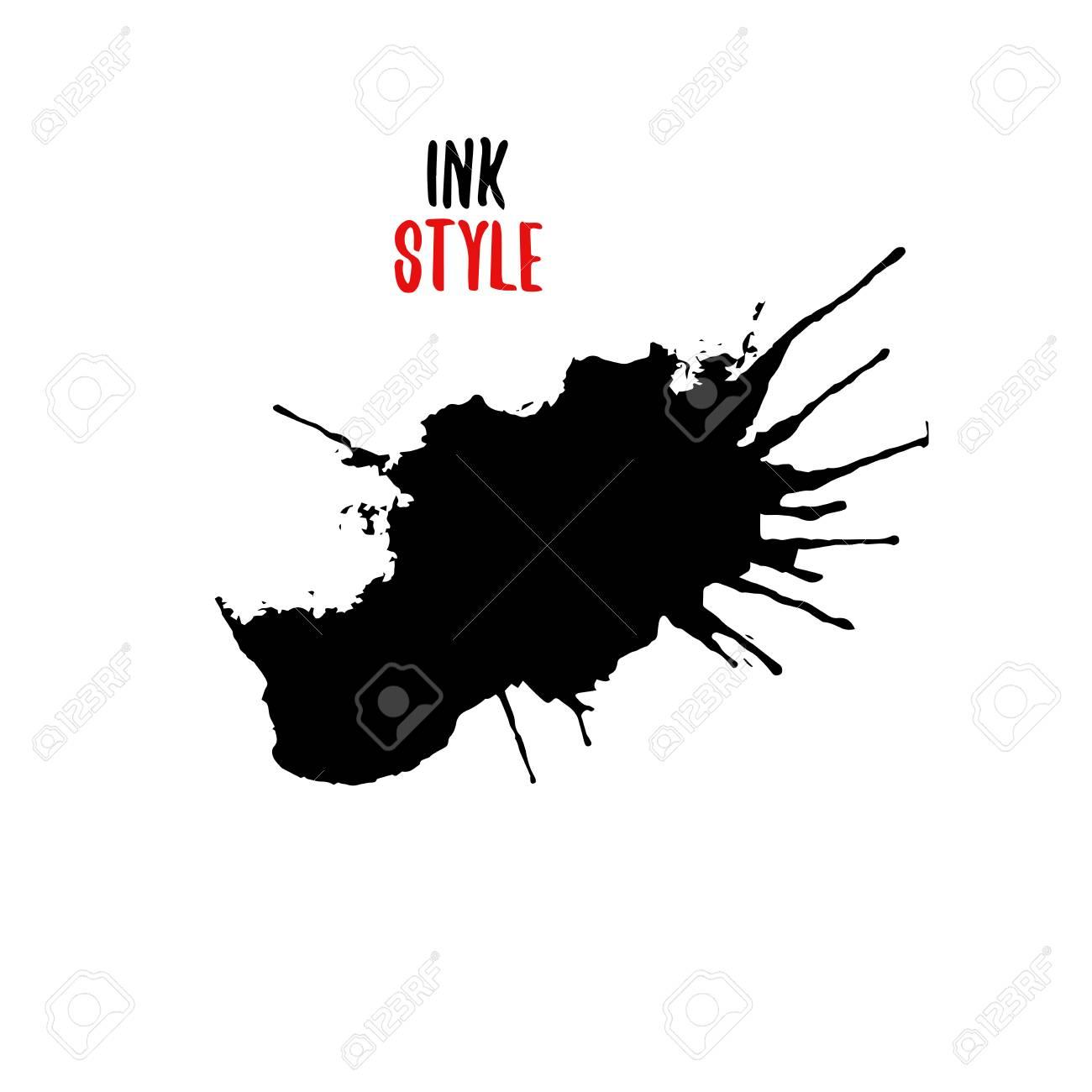 black ink splatter black hand drawn blot or splash on white rh 123rf com ink splatter vector illustrator free ink splatter vector illustrator free