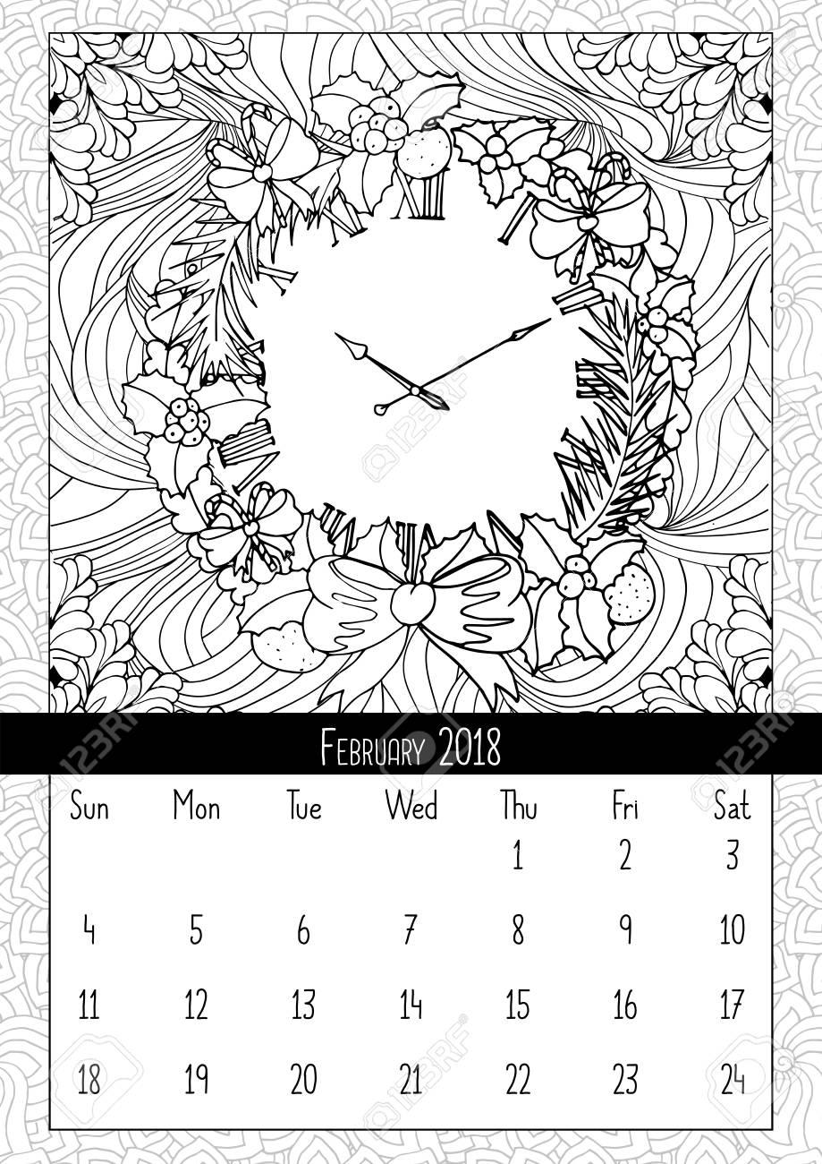 Noel çelenk Saat Boyama Kitabı Sayfa Takvim Royalty Free