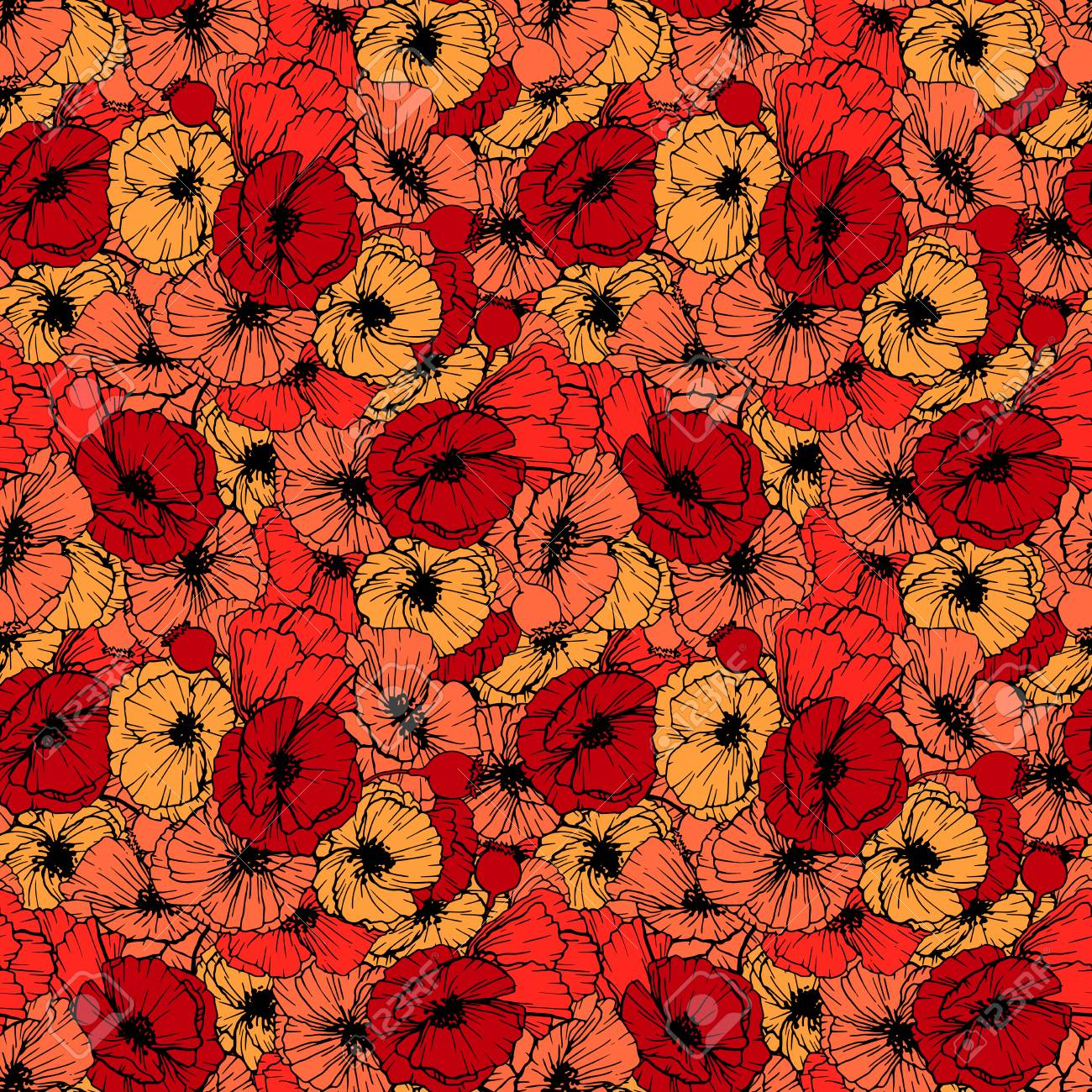 ddf1b3bd3d641 Red Poppies Seamless Pattern. Summer Flowers in Linear Engraving..