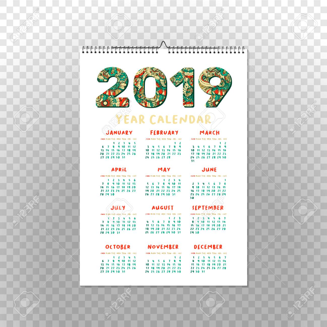 2019 year calendar xmas or happy new year holiday design isolated vector poster