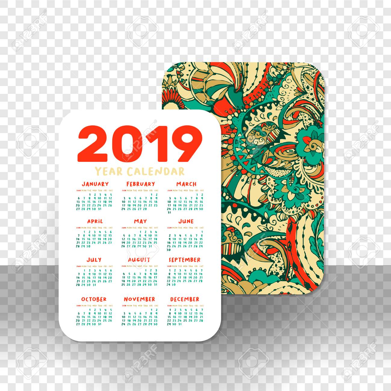 photo regarding Printable Pocket Calendar identified as 2019 Pocket Calendar Easy Grid. Vector Vertical Orientation