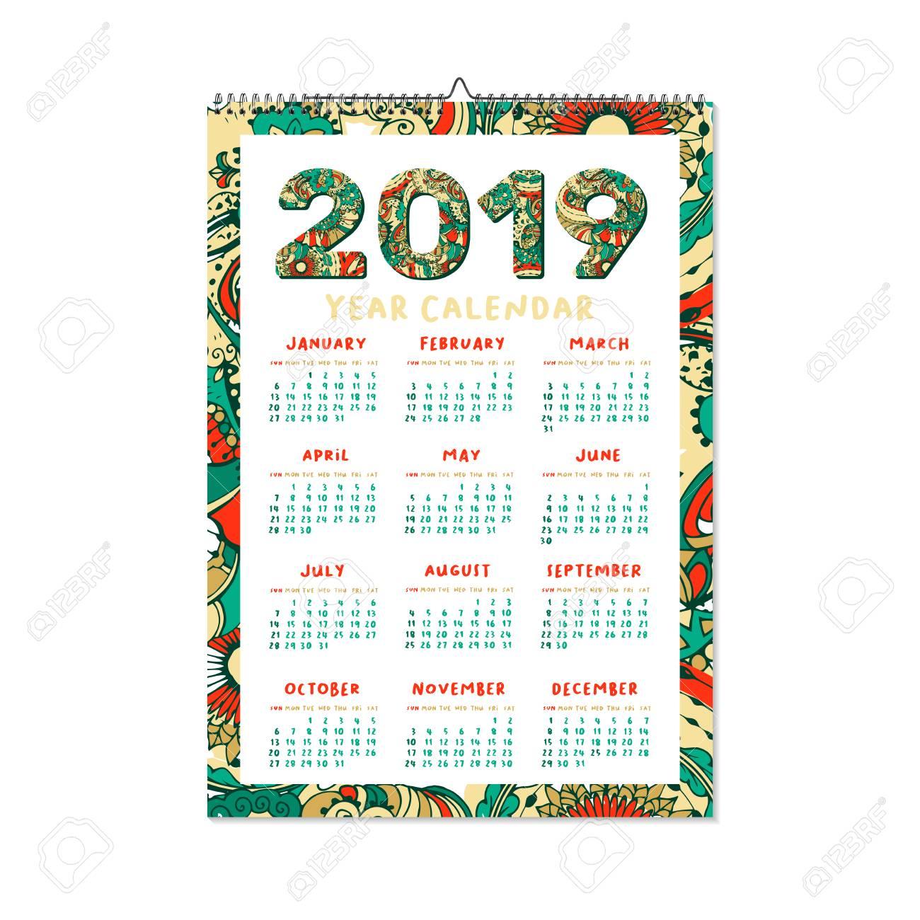 New Year Calendar 2019 2019 Year Calendar. Xmas Or Happy New Year Holiday Design