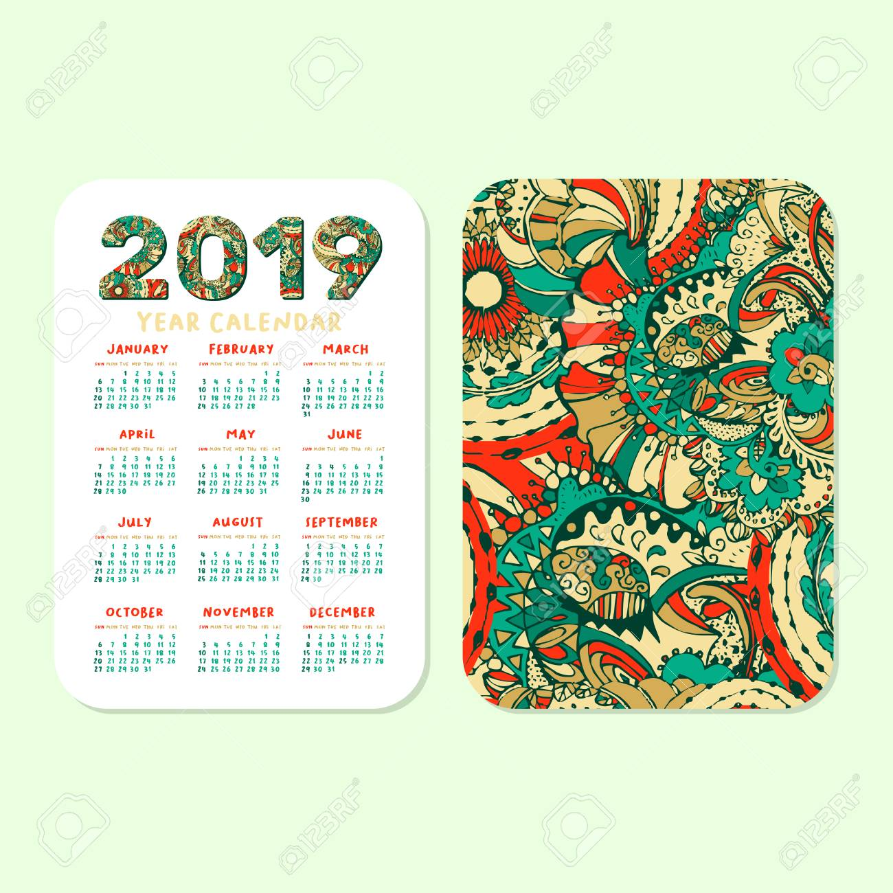 photograph about Printable Pocket Calendar identified as 2019 Pocket Calendar Uncomplicated Grid. Vector Vertical Orientation