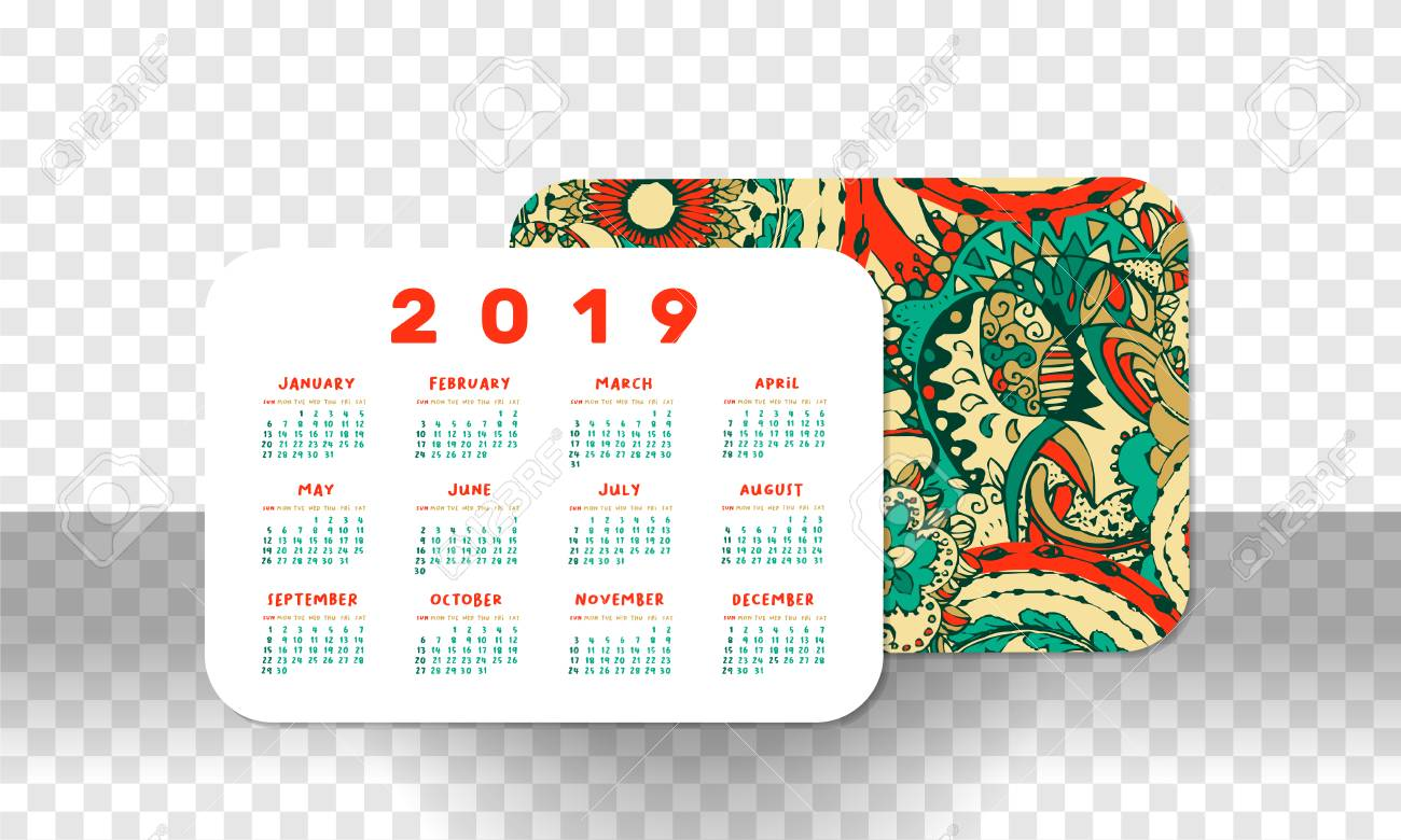 graphic relating to Printable Pocket Calendar named 2019 Pocket Calendar Uncomplicated Grid. Vector Horizontal Orientation
