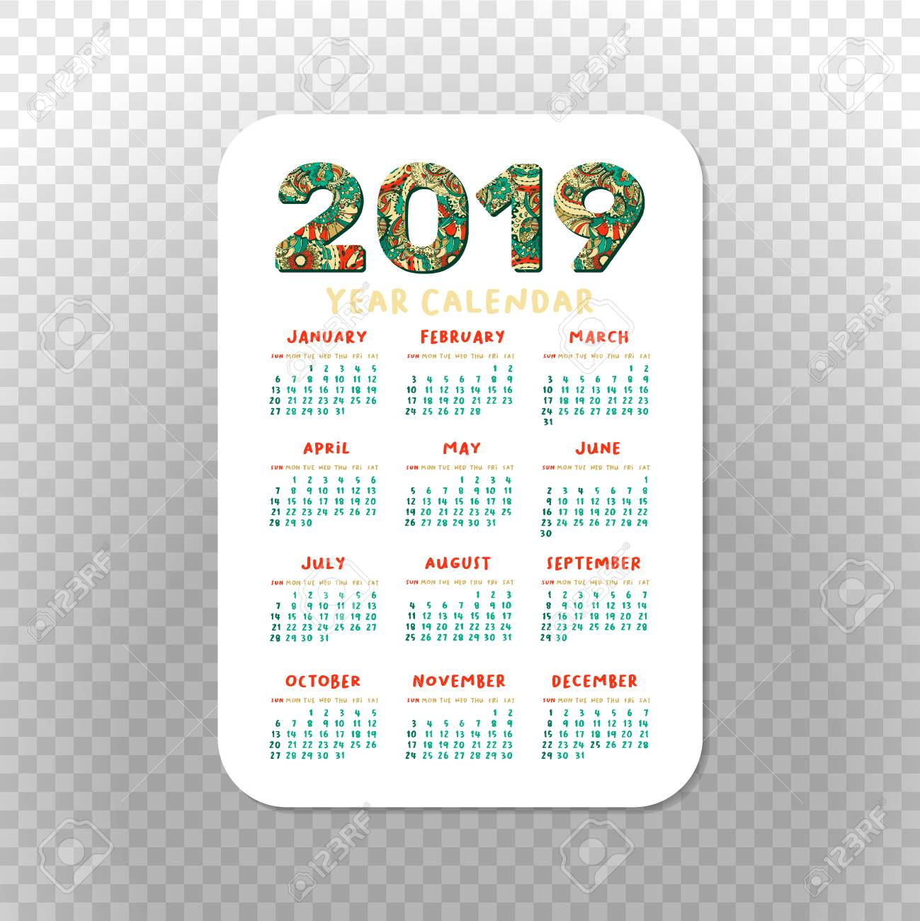 graphic relating to Printable Pocket Calendar known as 2019 Pocket Calendar Straightforward Grid. Vector Vertical Orientation