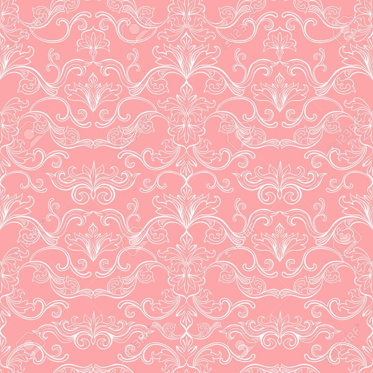 Damask Vector Seamless Pattern Vintage Style Wallpaper Carpet