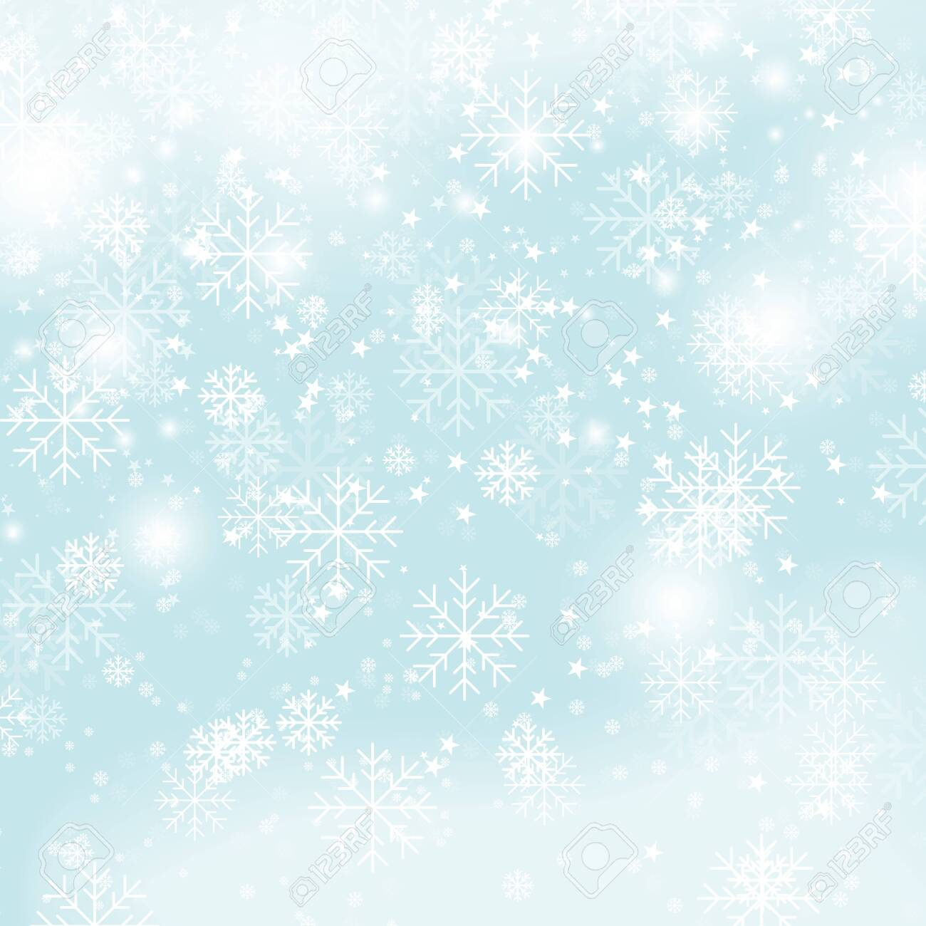 Winter pattern Christmas snowflakes on blue background vector illustration. New Year snowfall seamlessly wallpaper gradient vector image - 123749955