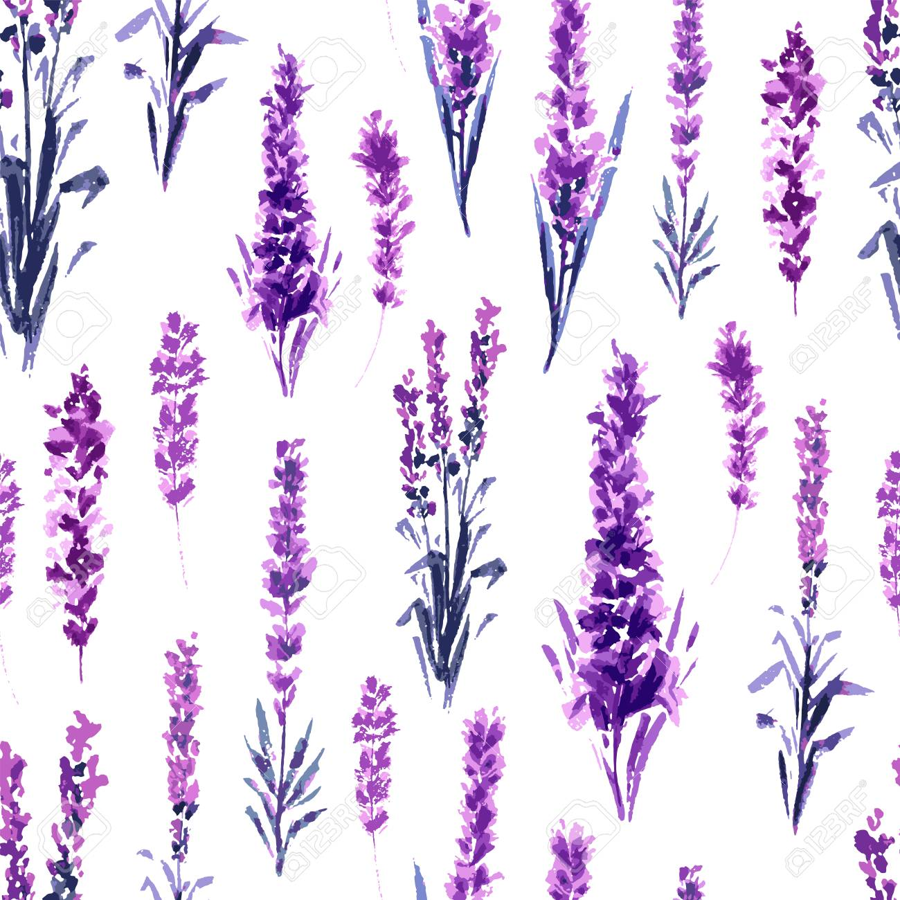 Lavender Field Seamless Pattern. Watercolor or Aquarelle Paintings of Provence Lavandula. Hand Drawn Tea Herbs Flower. Summer Blossom or Foliage of Garden Plant in Aquarelle. Nature and Perfume. - 122671553
