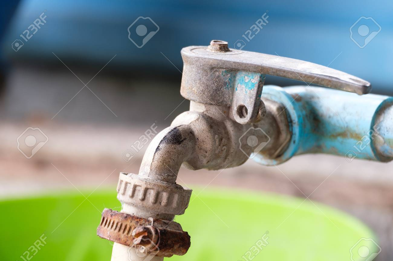 Old Water Tap, Rusty Faucet And PVC Pipe Stock Photo, Picture And ...