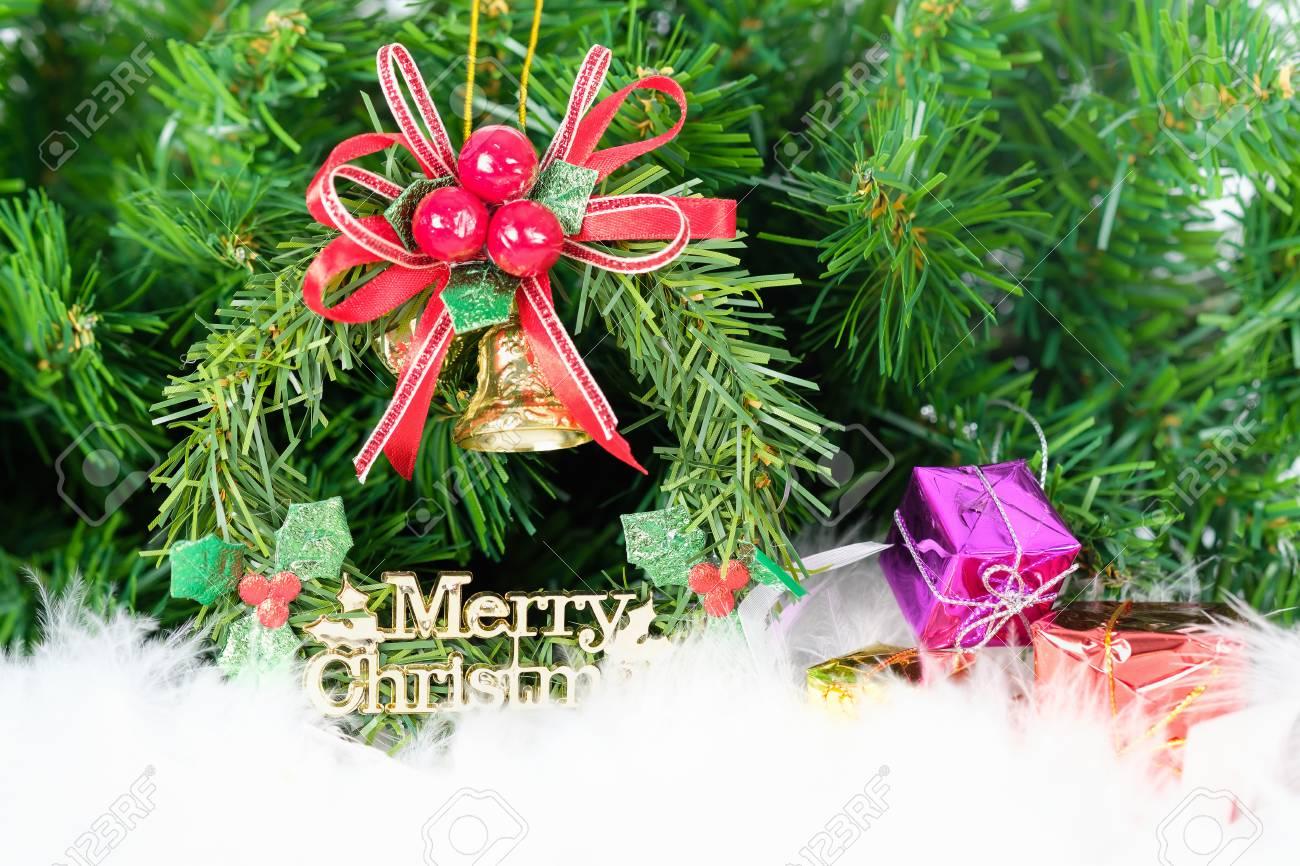 Weihnachten Verzierte Verzierung, Die Im Tannenbaum Hängt. Platz Zum ...