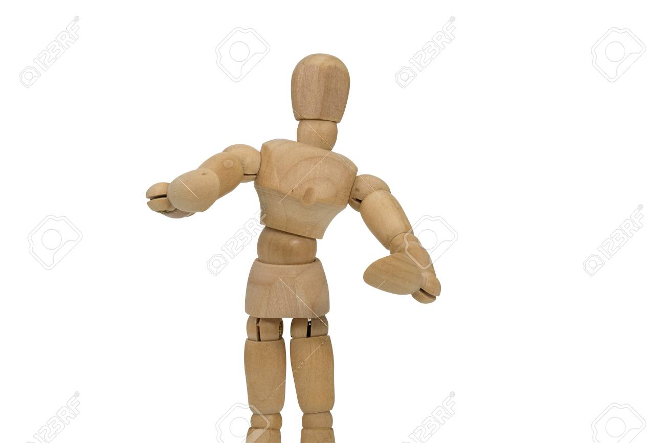 wooden figure doll pose to hug isolated on white background. stock