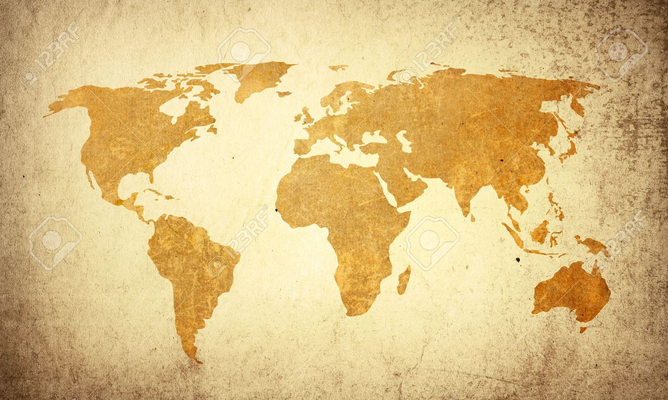 World Map Vintage Artwork   Perfect Background With Space For
