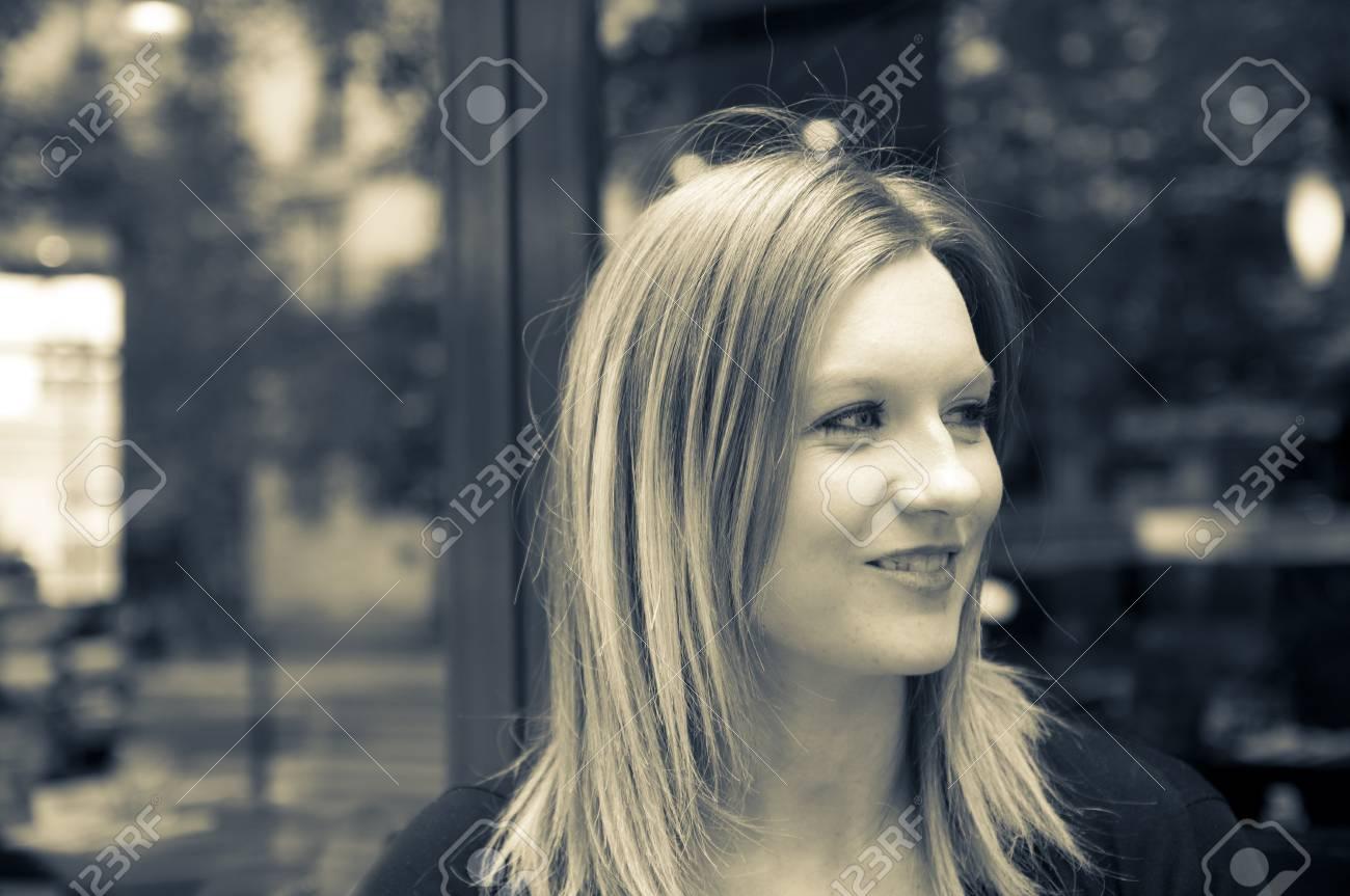 Female Outdoor Cafe Portrait in paris france Stock Photo - 8623409