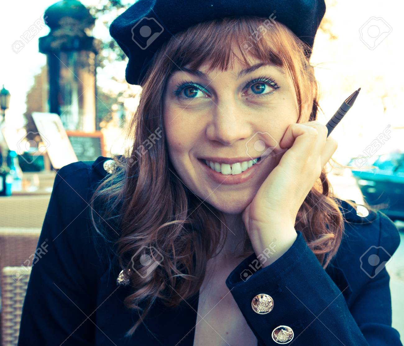 Female Outdoor Cafe Portrait in paris france Stock Photo - 9175217