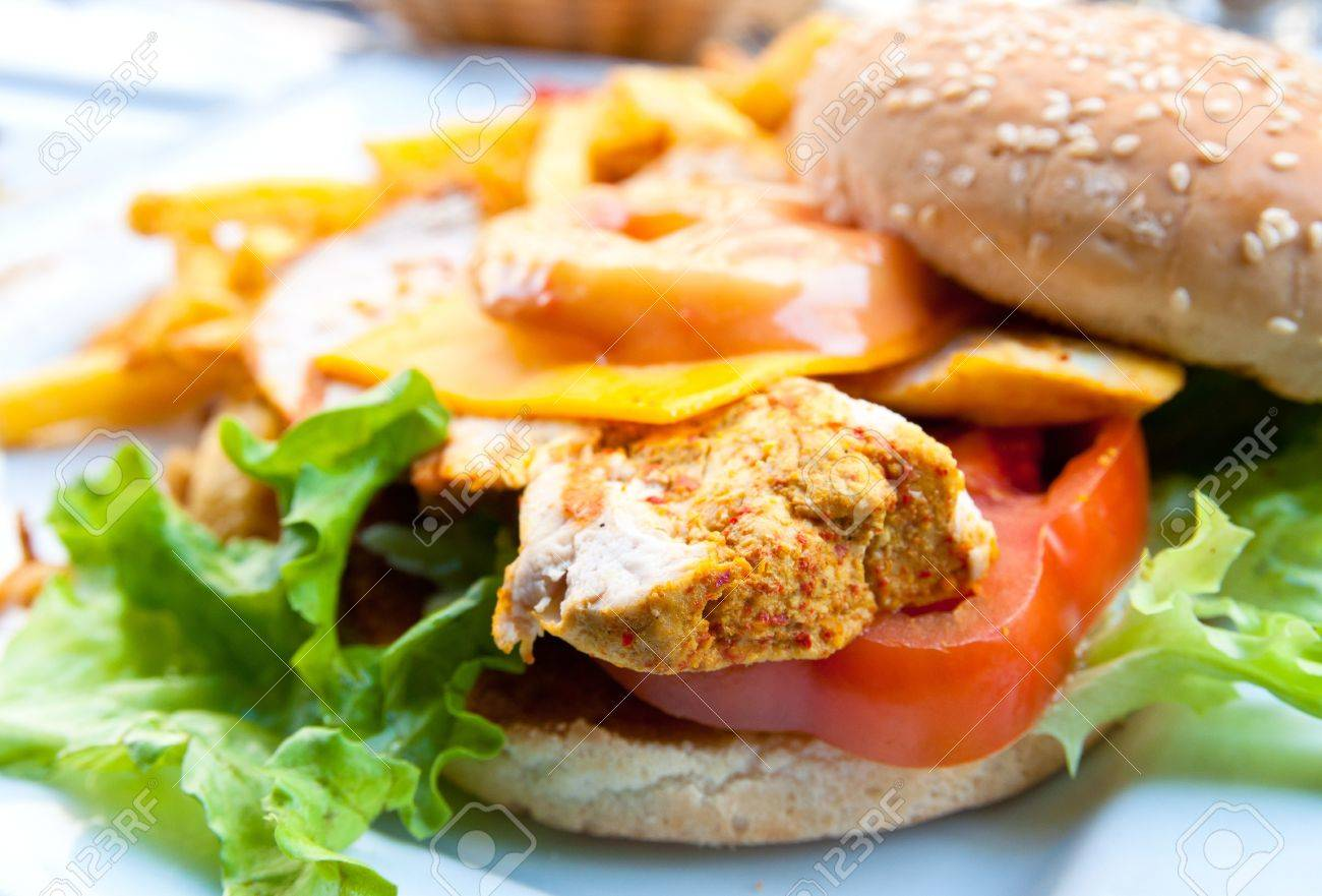 Cheese burger - American cheese chicken burger with fresh salad - 9355209