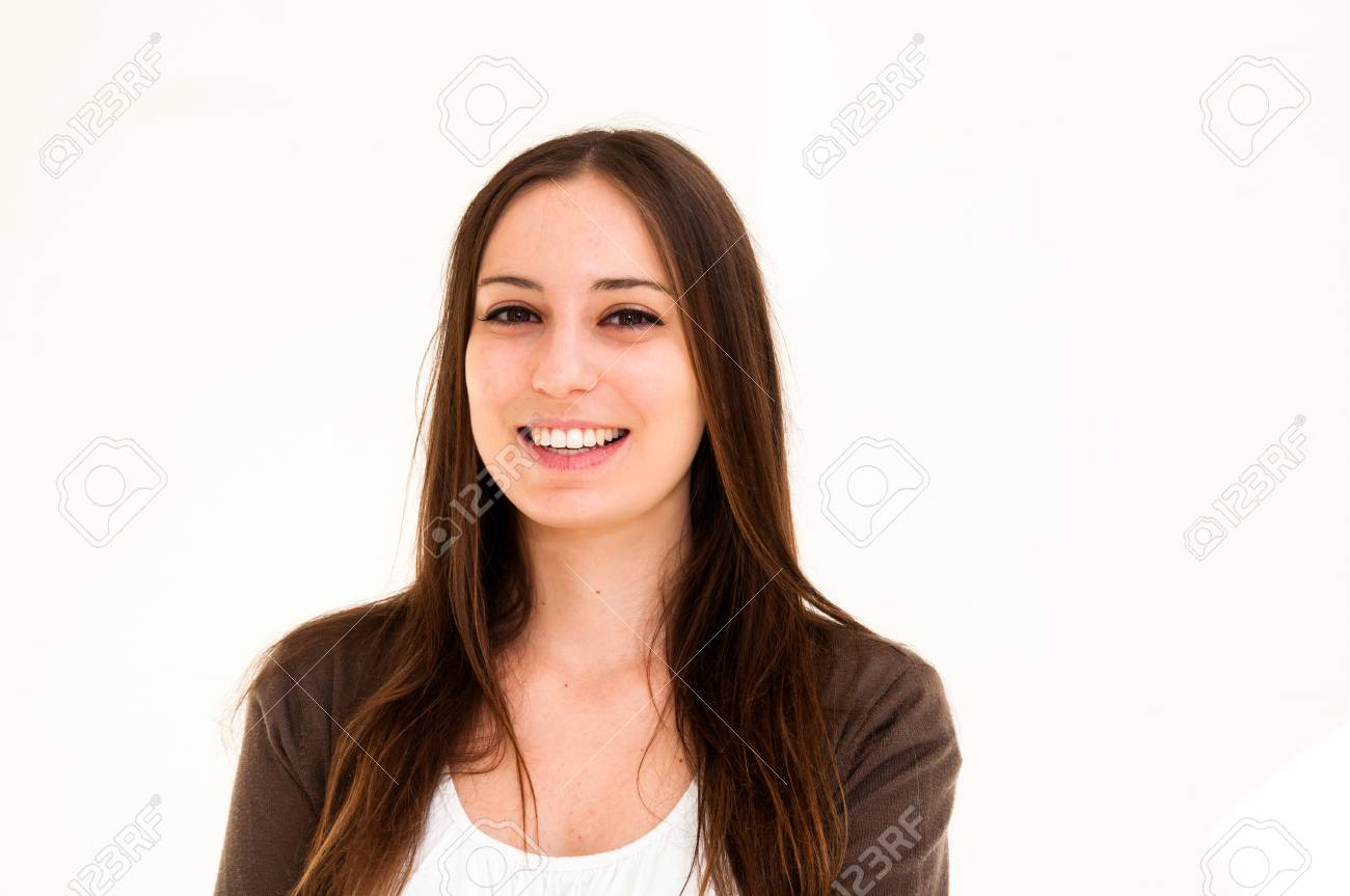 Portrait of a black hair young woman smiling Stock Photo - 9796226