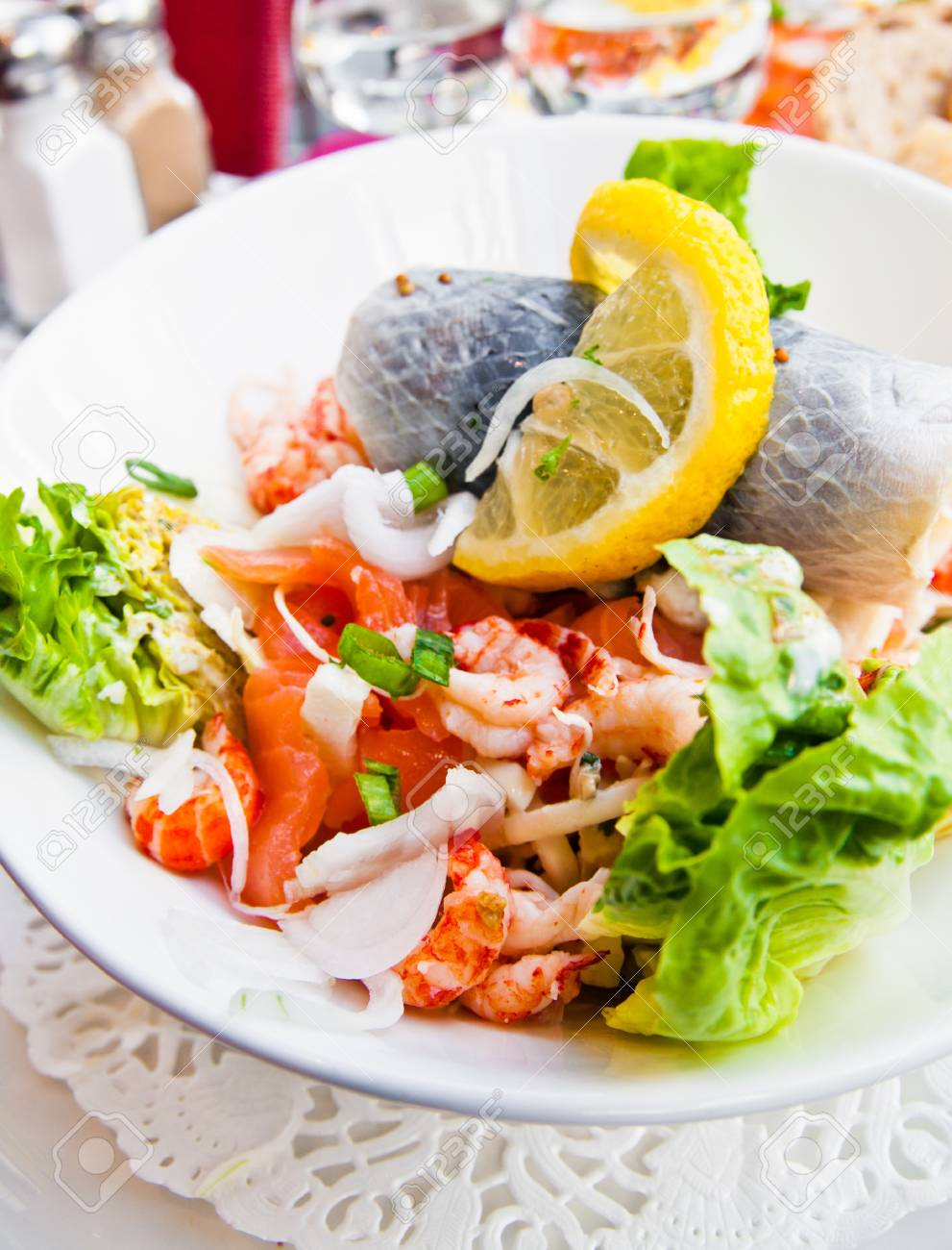 Fresh seafood salad with smoked salmon Stock Photo - 11233200