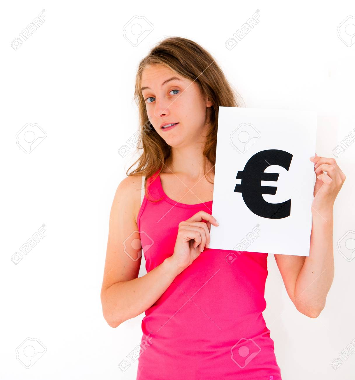 portrait young woman with board euro mark Stock Photo - 11782456