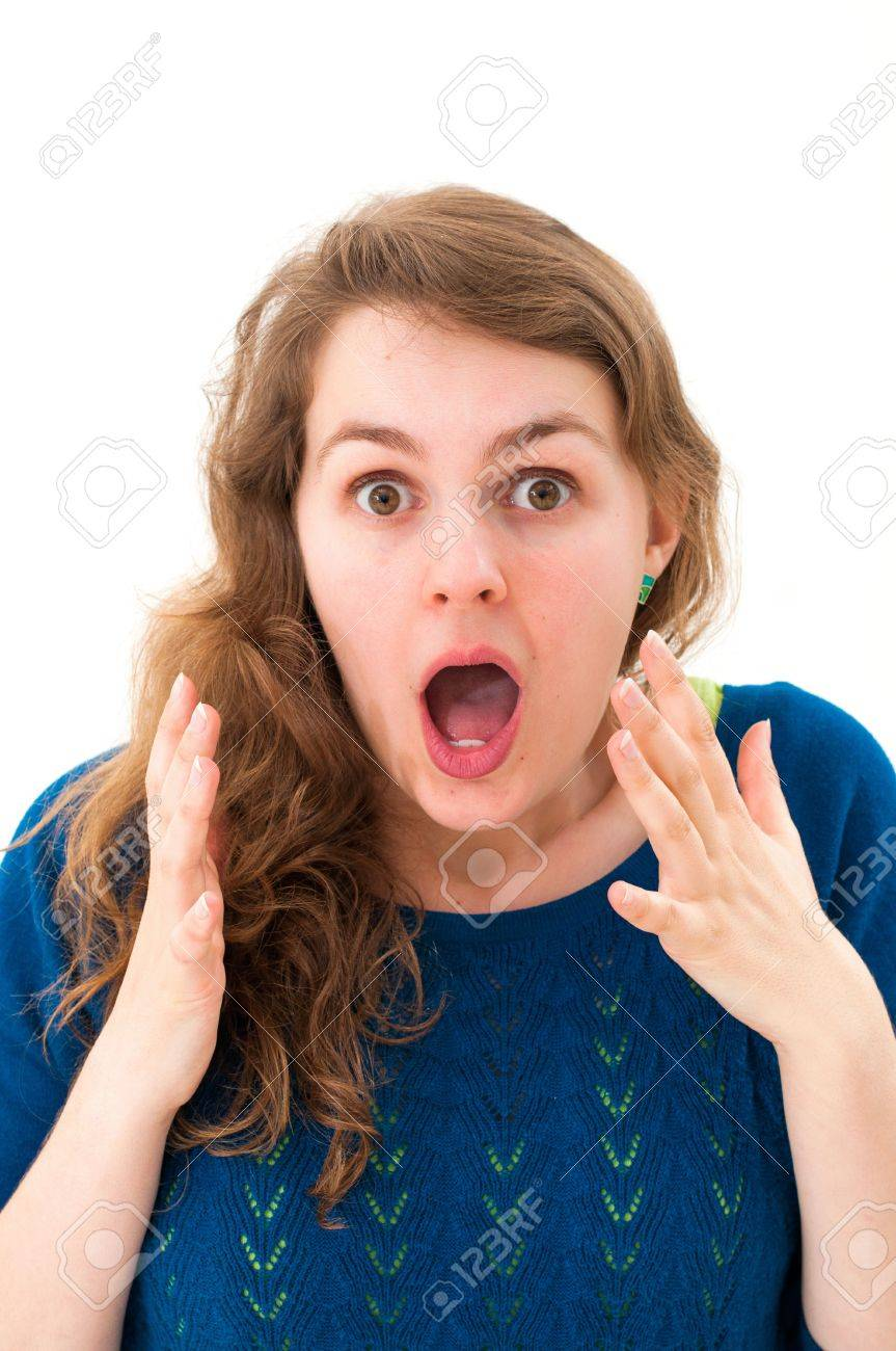 Scared face of women on white background Stock Photo - 13152332