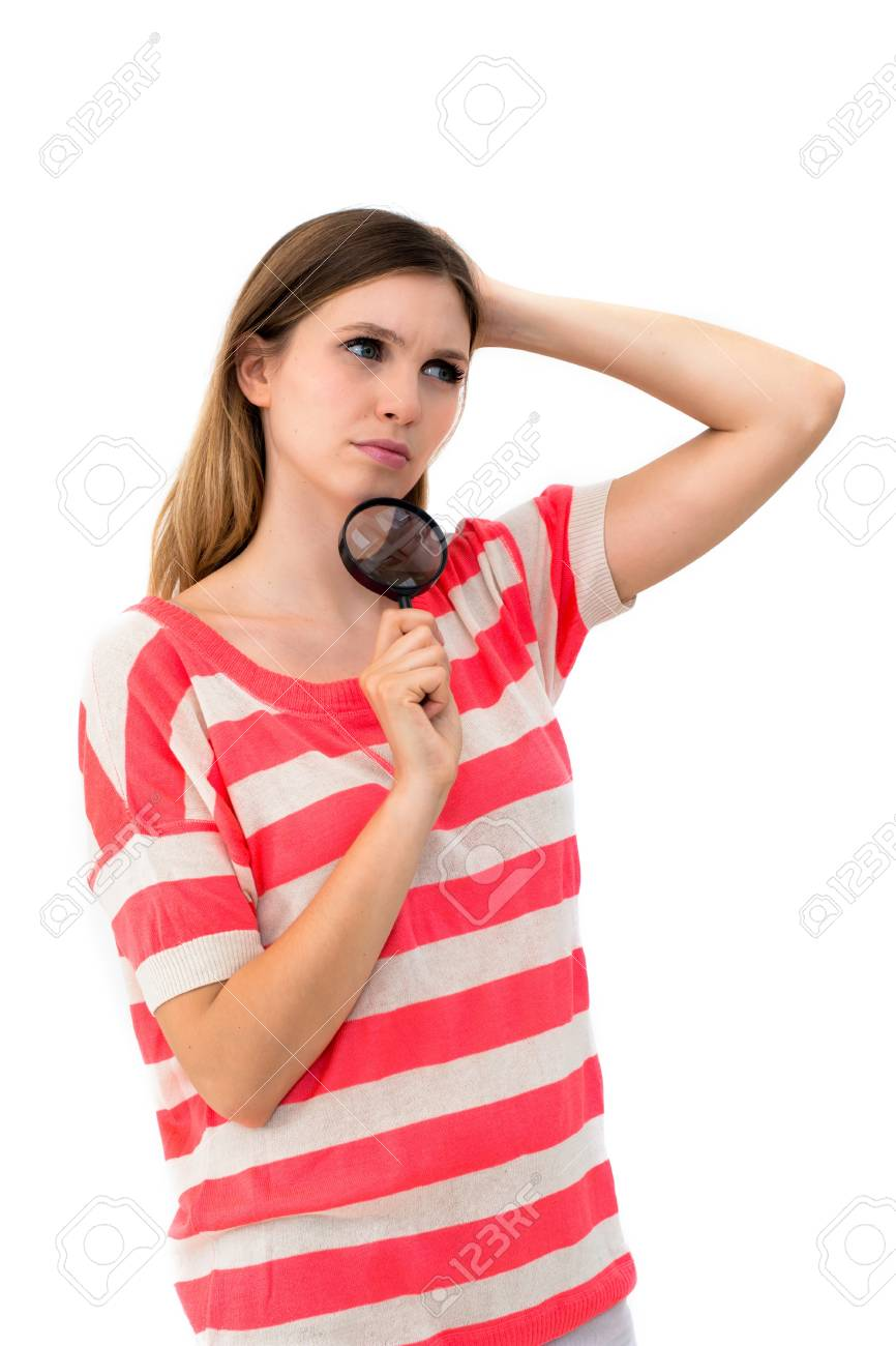 woman face think an look up and with magnifying glass on a white background Stock Photo - 14429999