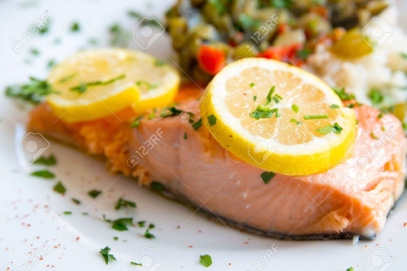 grilled salmon and rice-french cuisine dish with tomato and salmon Stock Photo - 14869157
