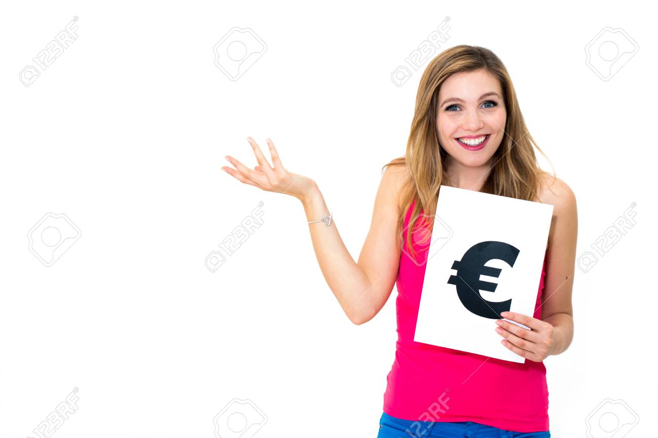 portrait young woman with board euro mark Stock Photo - 16665756