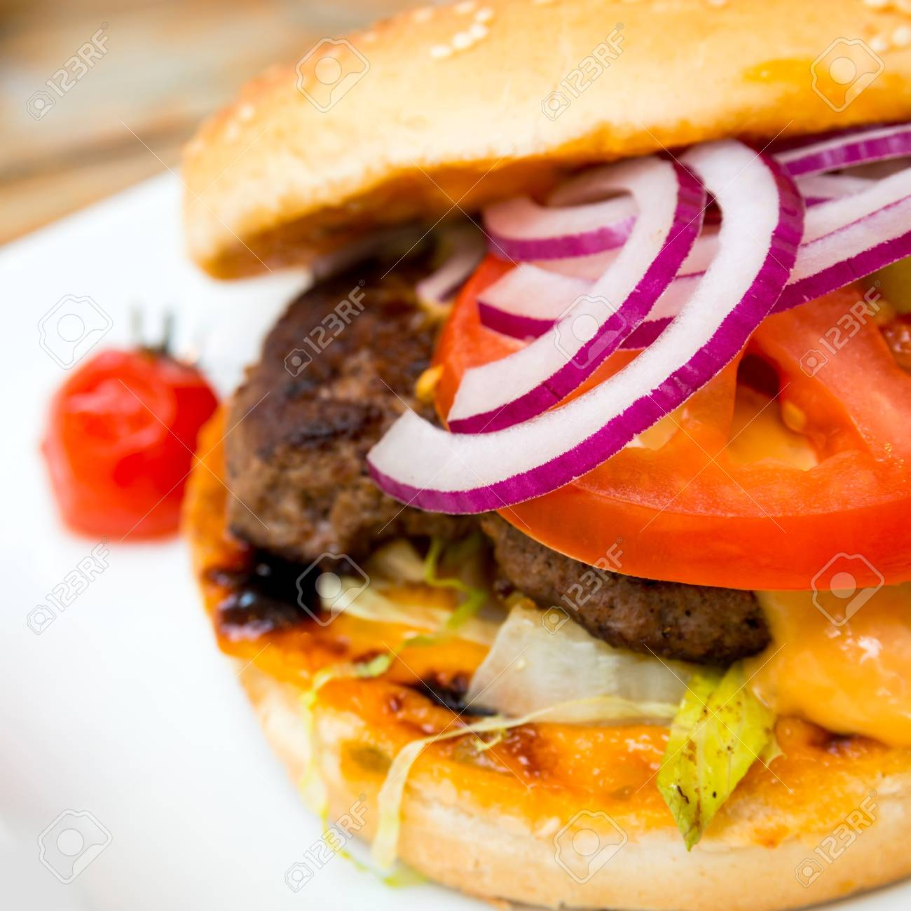 Cheese burger - American cheese burger with fresh salad Stock Photo - 17364427