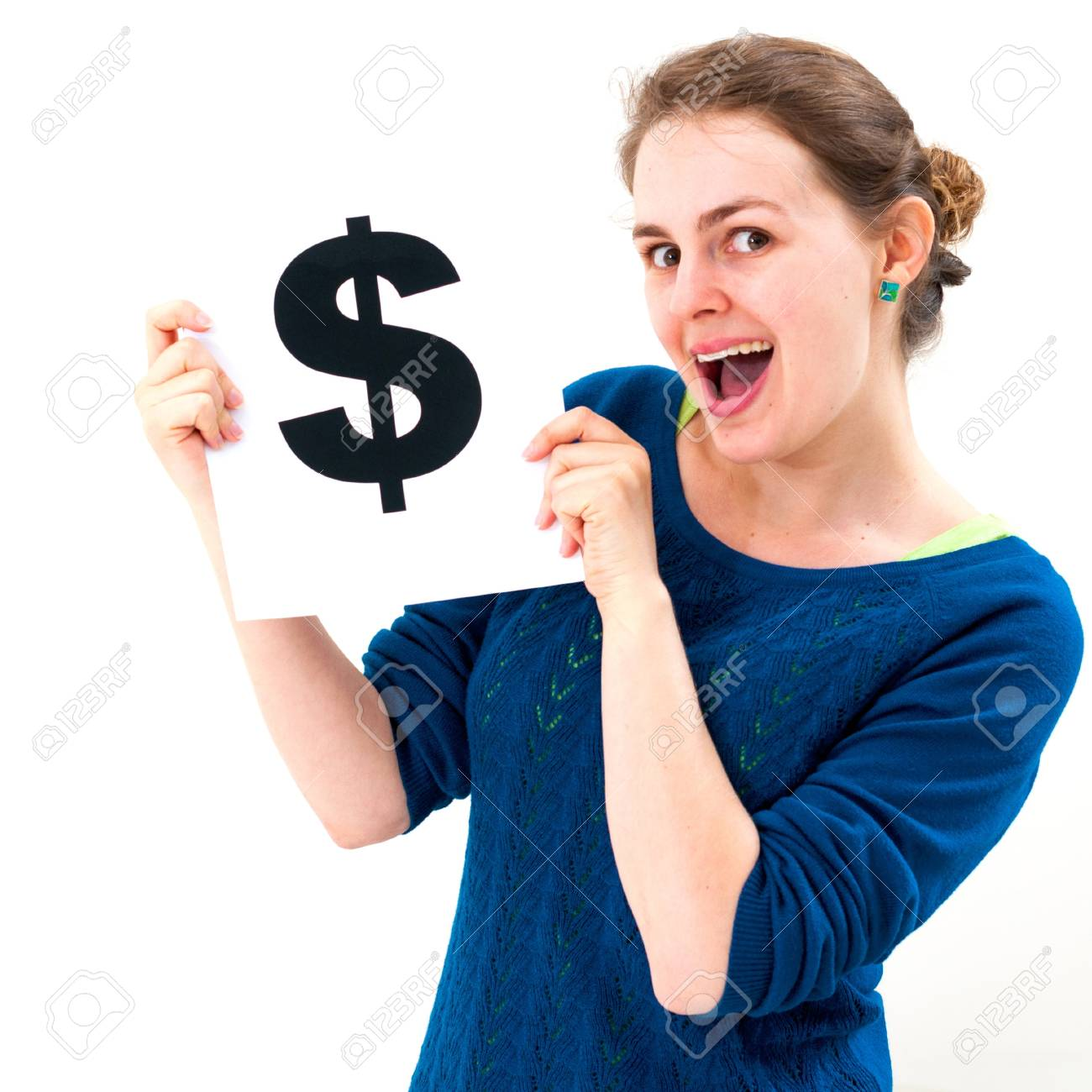 portrait young woman with board dollar mark Stock Photo - 18098638