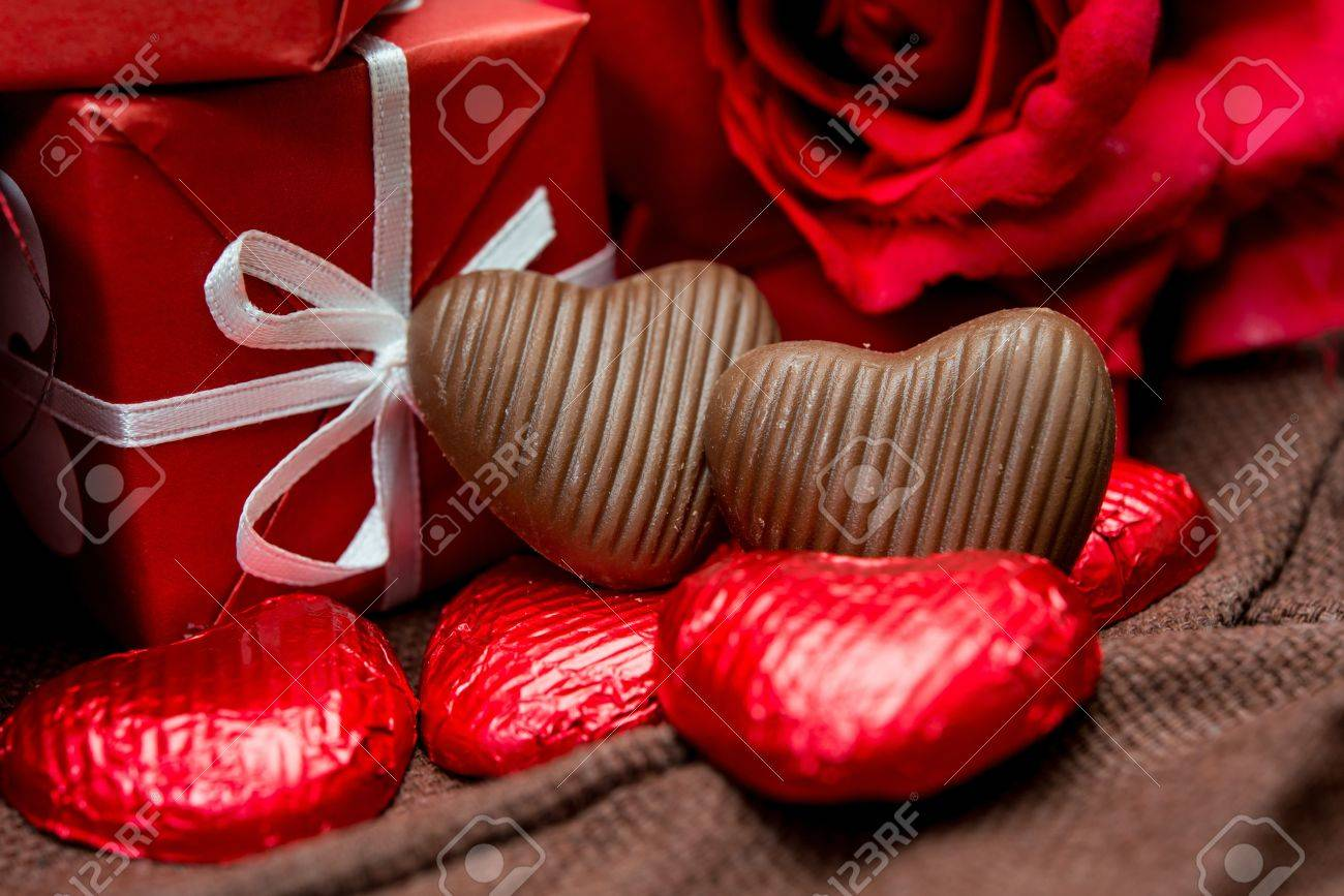 Chocolate Gift Box And Flowers For Valentine S Day Stock Photo Picture And Royalty Free Image Image 18689376