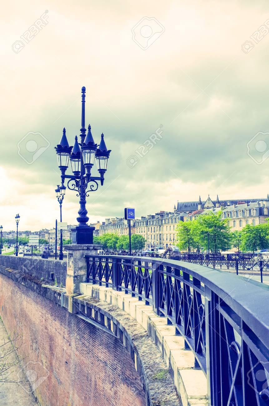 Old stony bridge in Bordeaux, France Europe Stock Photo - 28056036