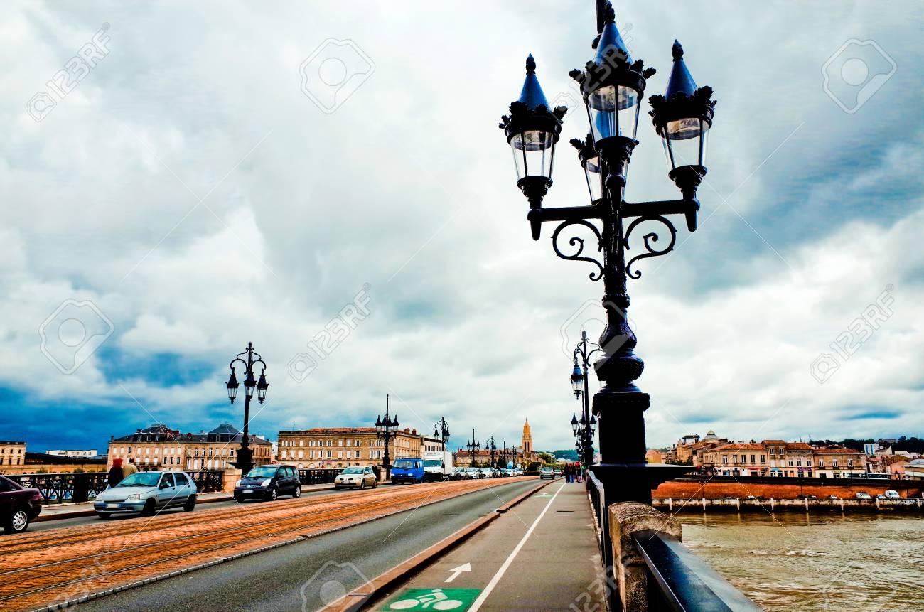 Old stony bridge in Bordeaux, France Europe Stock Photo - 28847242