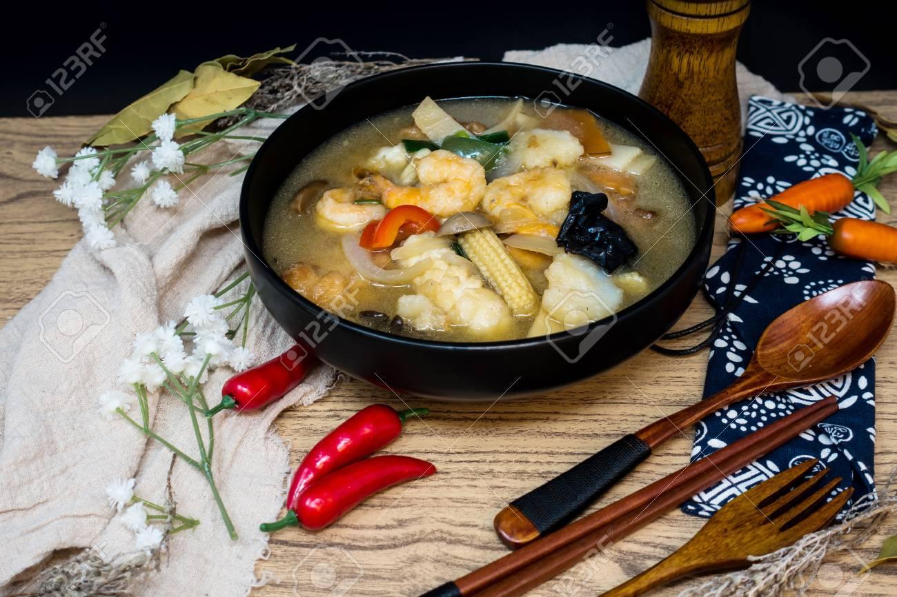 Chinese Food Mix Seafood Soup Pot Stock ...