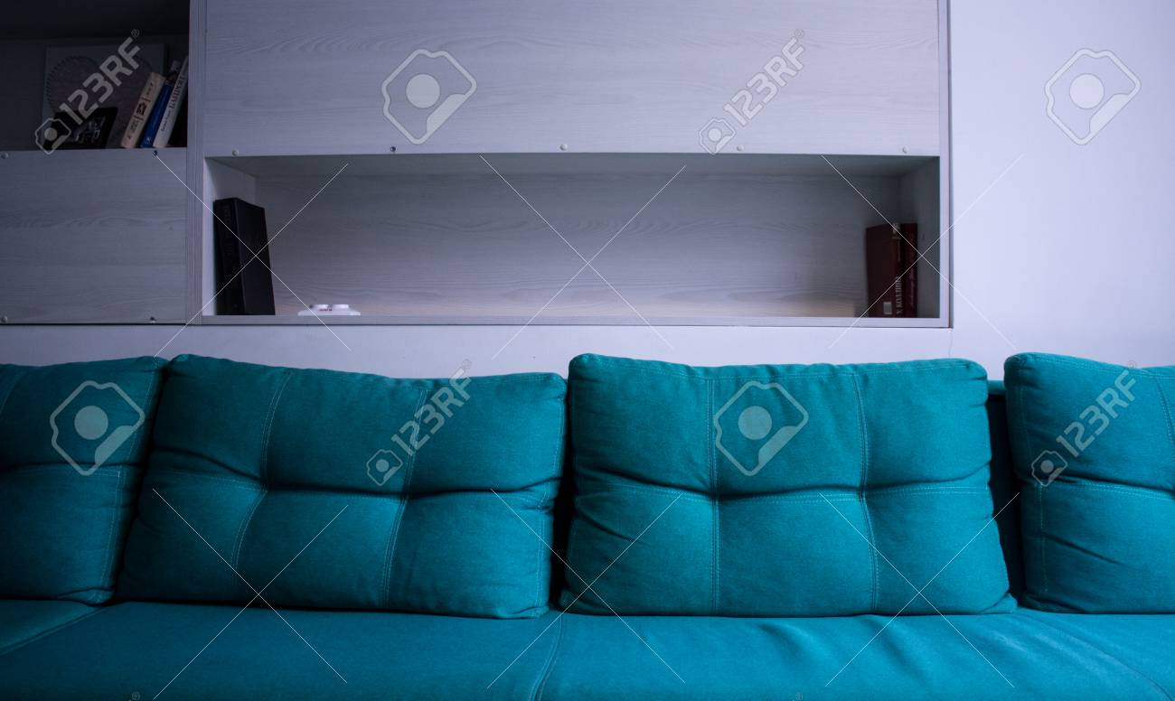 A Sofa In The Office Green Colour Stock Photo   95922866