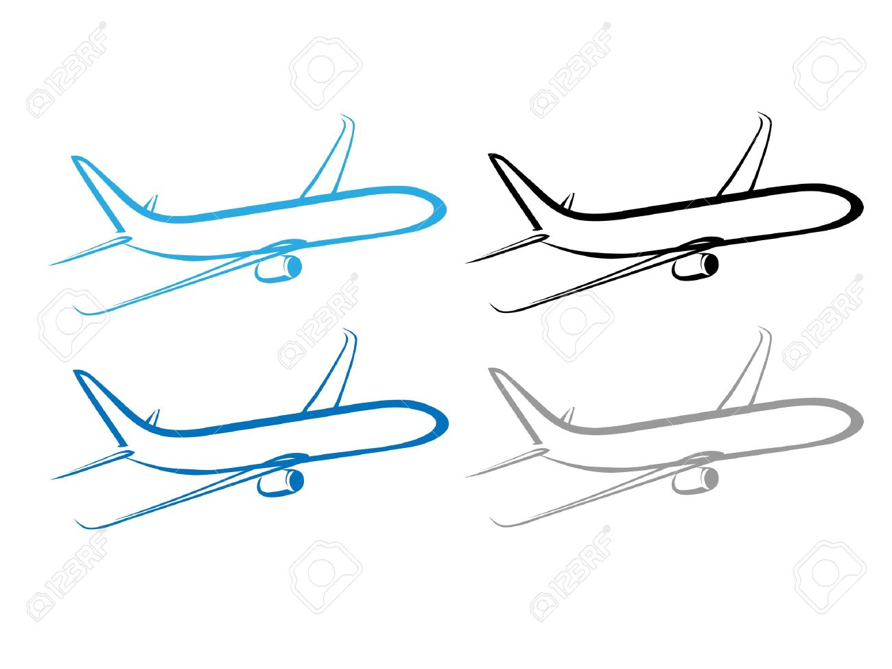 stylized airplane flying airplane design royalty free cliparts