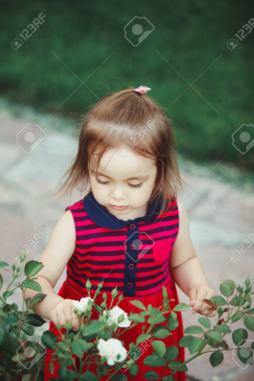 716650a11aec4 Cute baby looks at the white spray roses. adorable little girl in red dress.