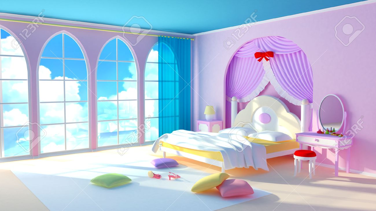 Fairy Tale Princess Room The Pink Bedroom Girl With Colorful Pillows And  Large Windows In The