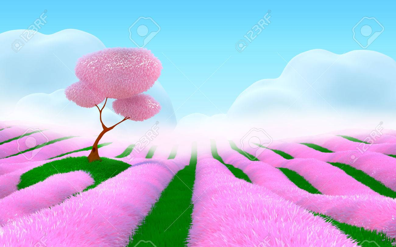 Field with pink flowers, cherry tree on a hill, fog  Pink 3d fantasy landscape Stock Photo - 23292883